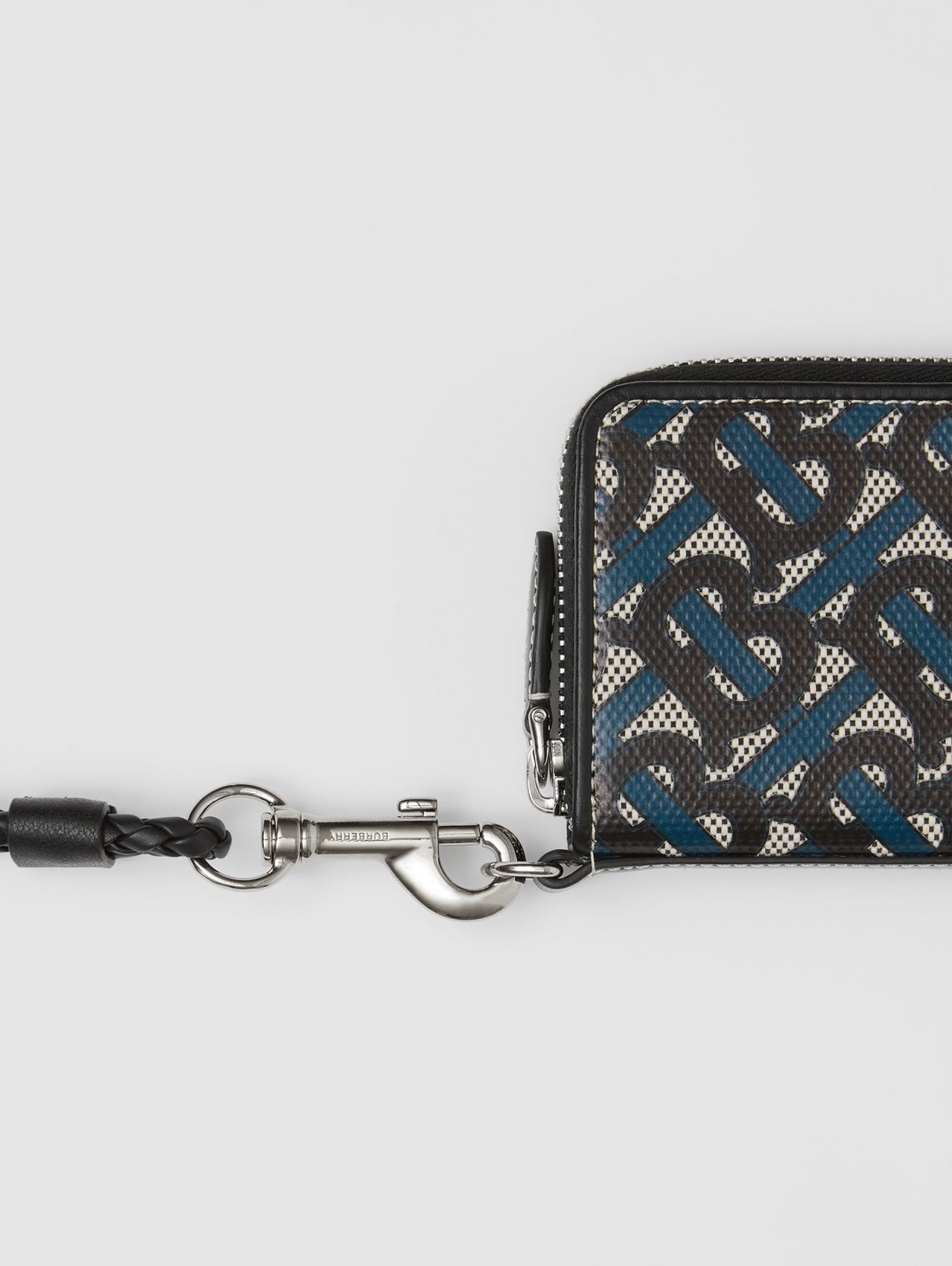 Monogram Print Cotton Canvas Card Case Lanyard in Ink Blue