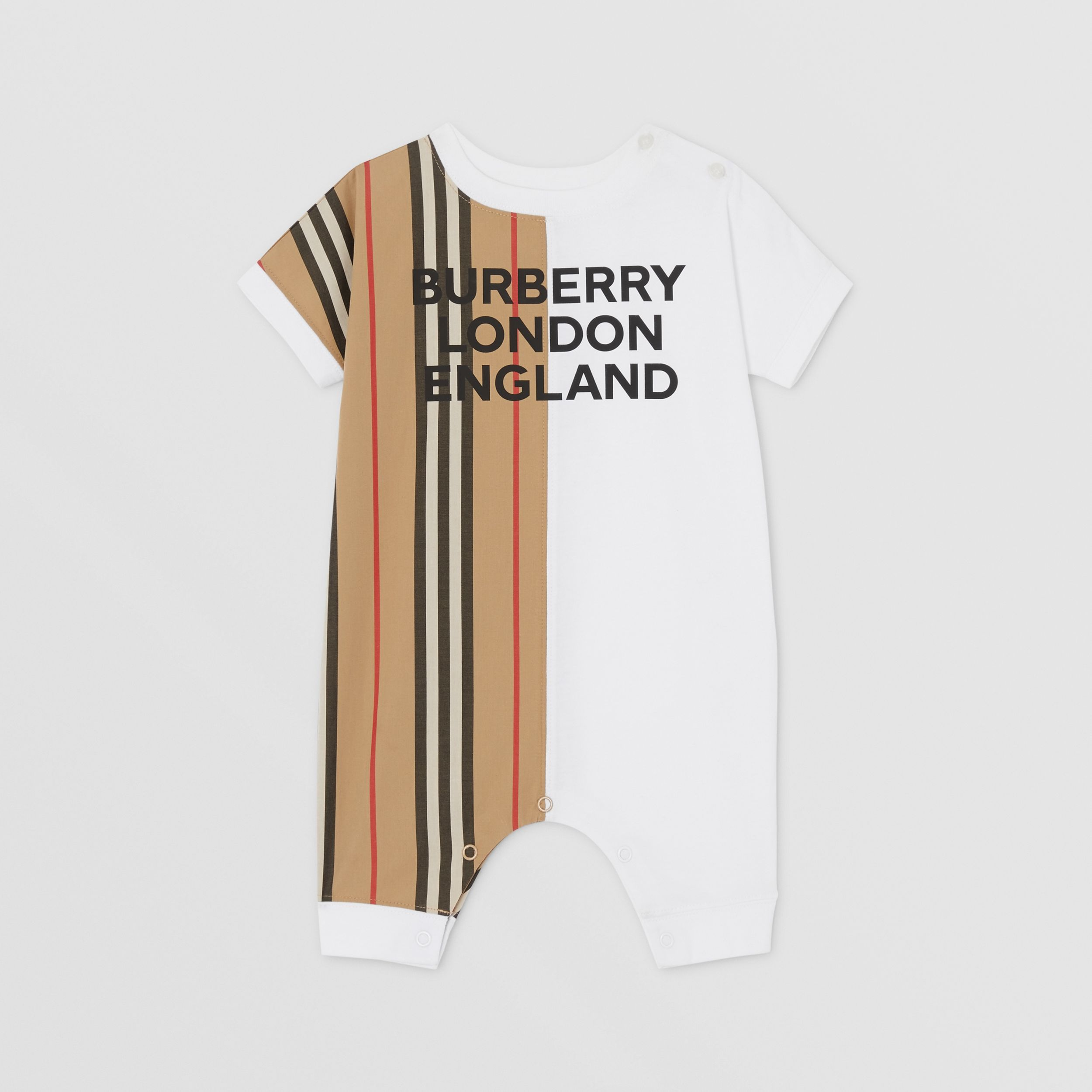 Icon Stripe Panel Cotton Playsuit in White - Children | Burberry - 1