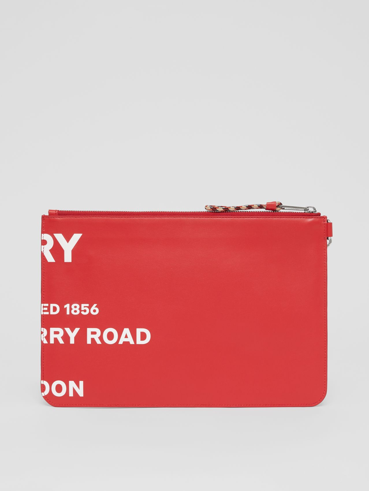 Horseferry Print Leather Zip Pouch in Red/white