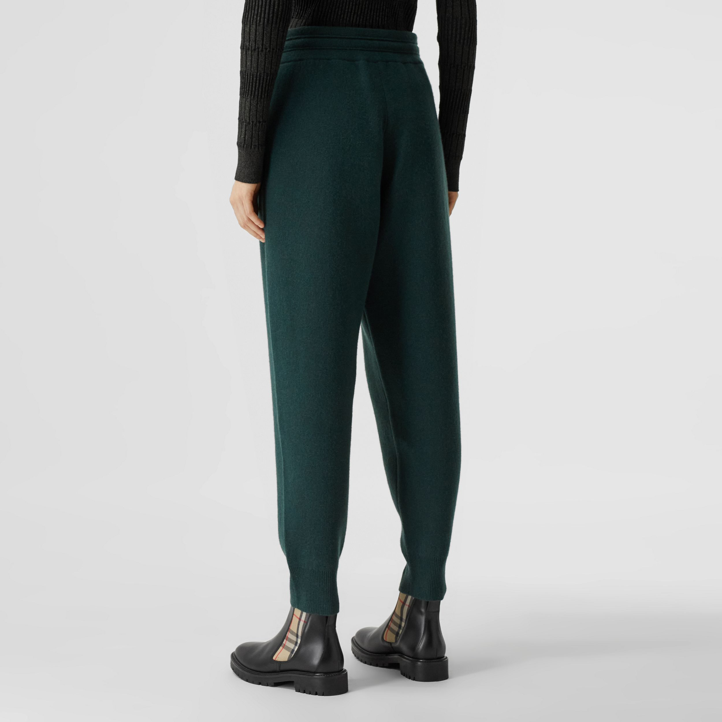 Monogram Motif Cashmere Blend Jogging Pants in Bottle Green - Women | Burberry - 3