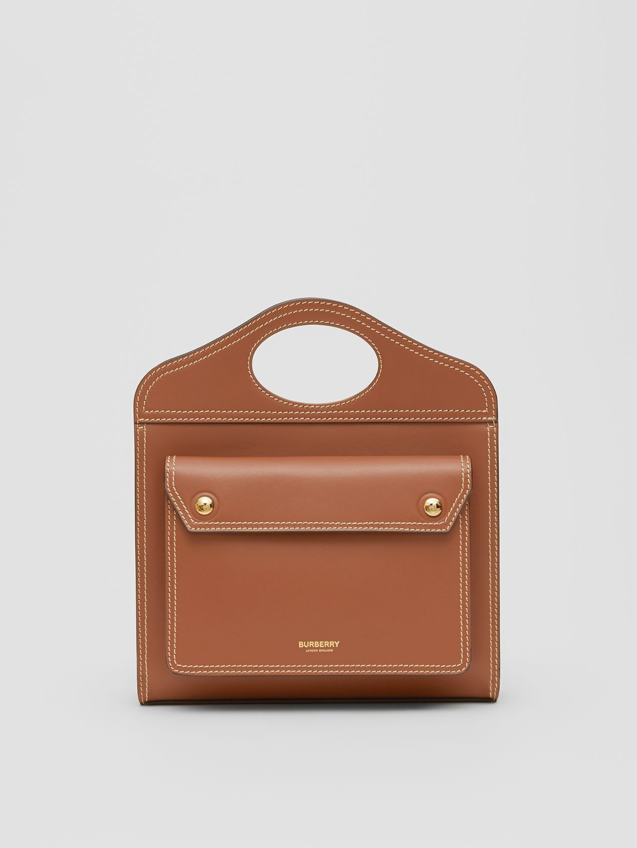 Mini Topstitched Leather Pocket Bag in Malt Brown