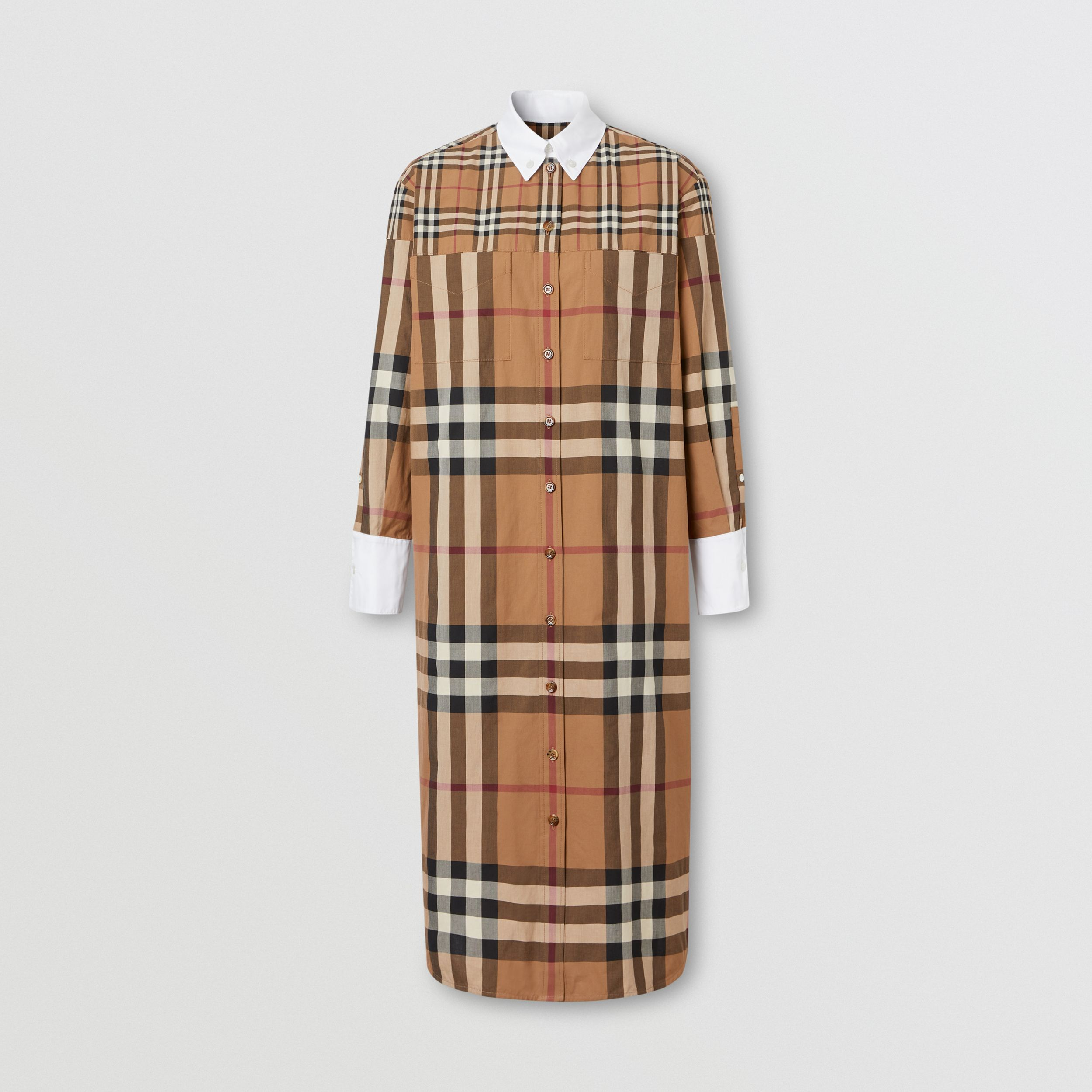 Contrast Check Cotton Oversized Shirt Dress in Birch Brown - Women | Burberry Australia - 4