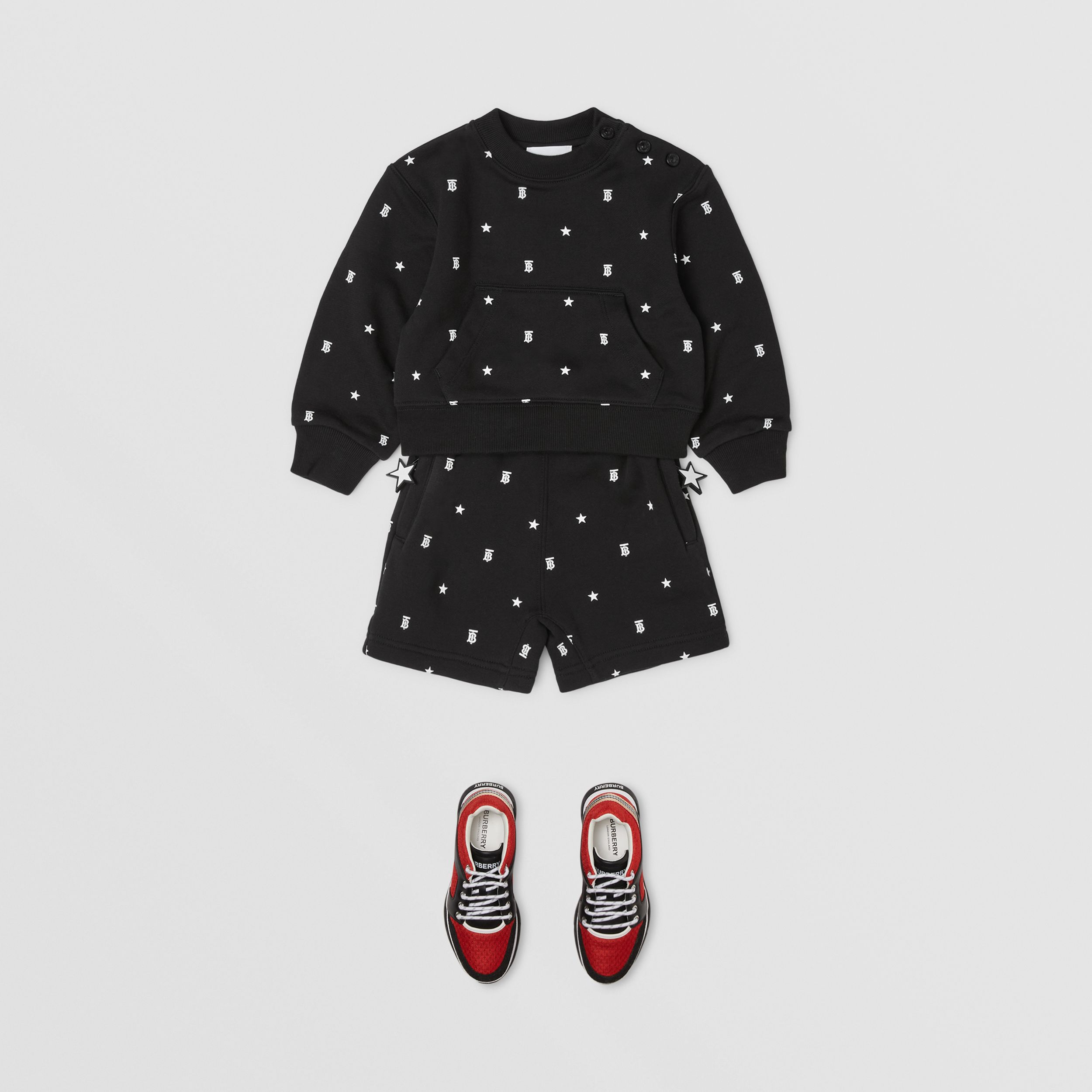 Star and Monogram Motif Cotton Sweatshirt in Black - Children | Burberry - 3