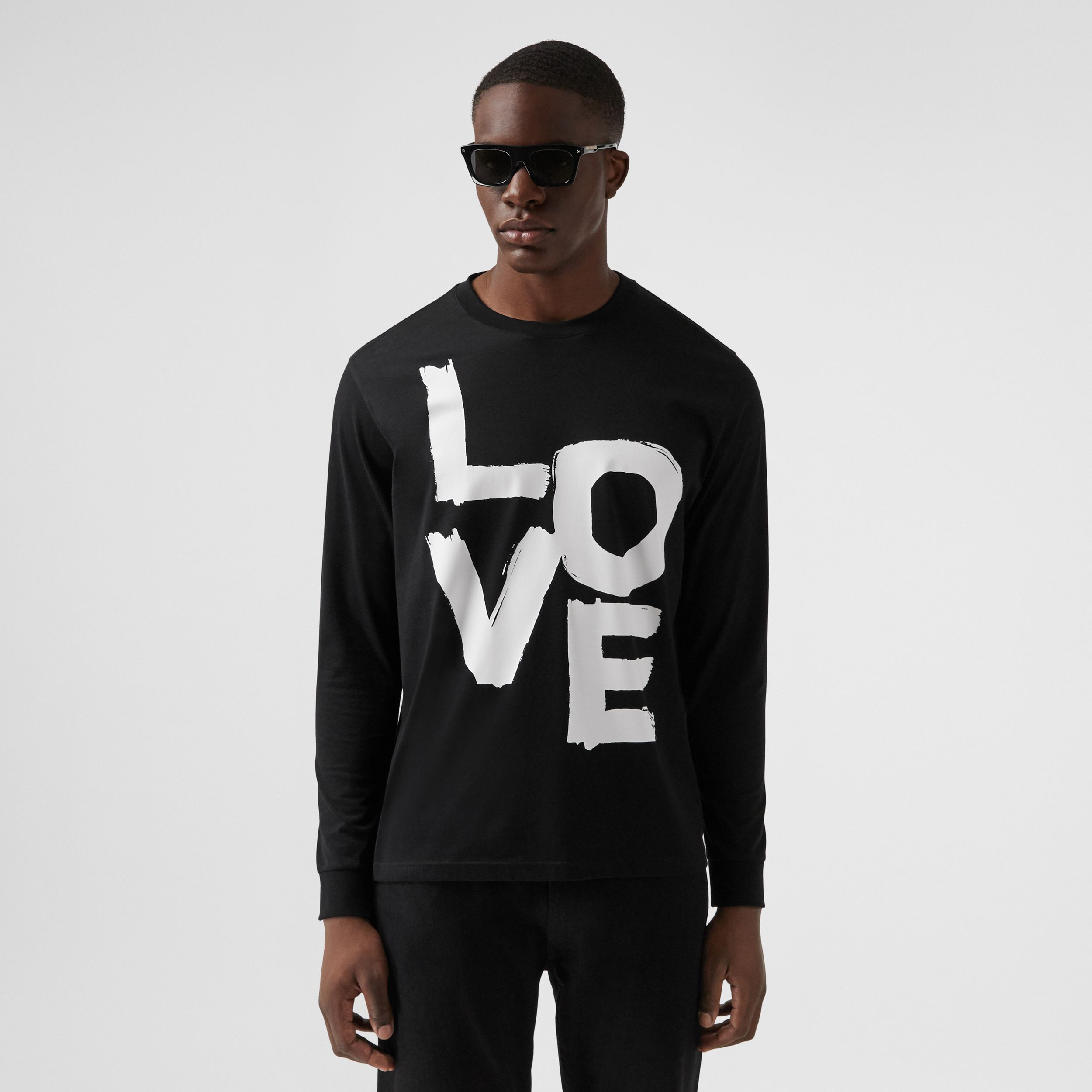 Long-sleeve Love Print Cotton Top in Black - Men | Burberry - 1