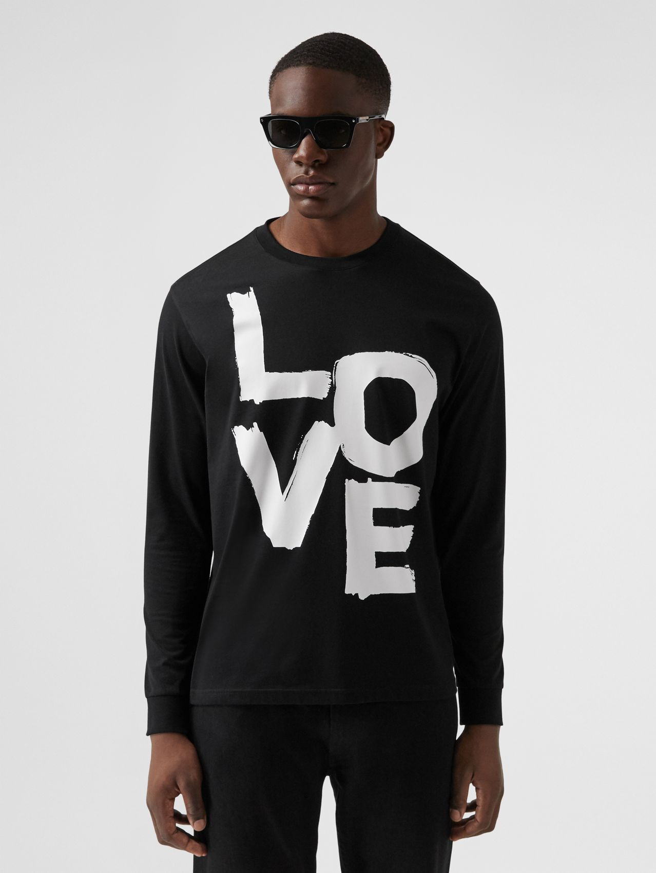 Long-sleeve Love Print Organic Cotton Top in Black