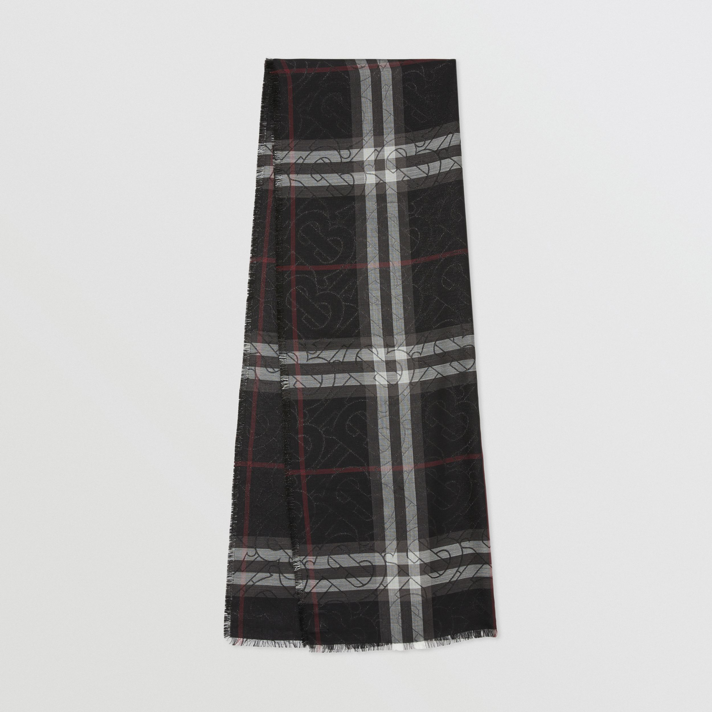 Metallic Monogram Lightweight Check Silk Blend Scarf in Black | Burberry - 1