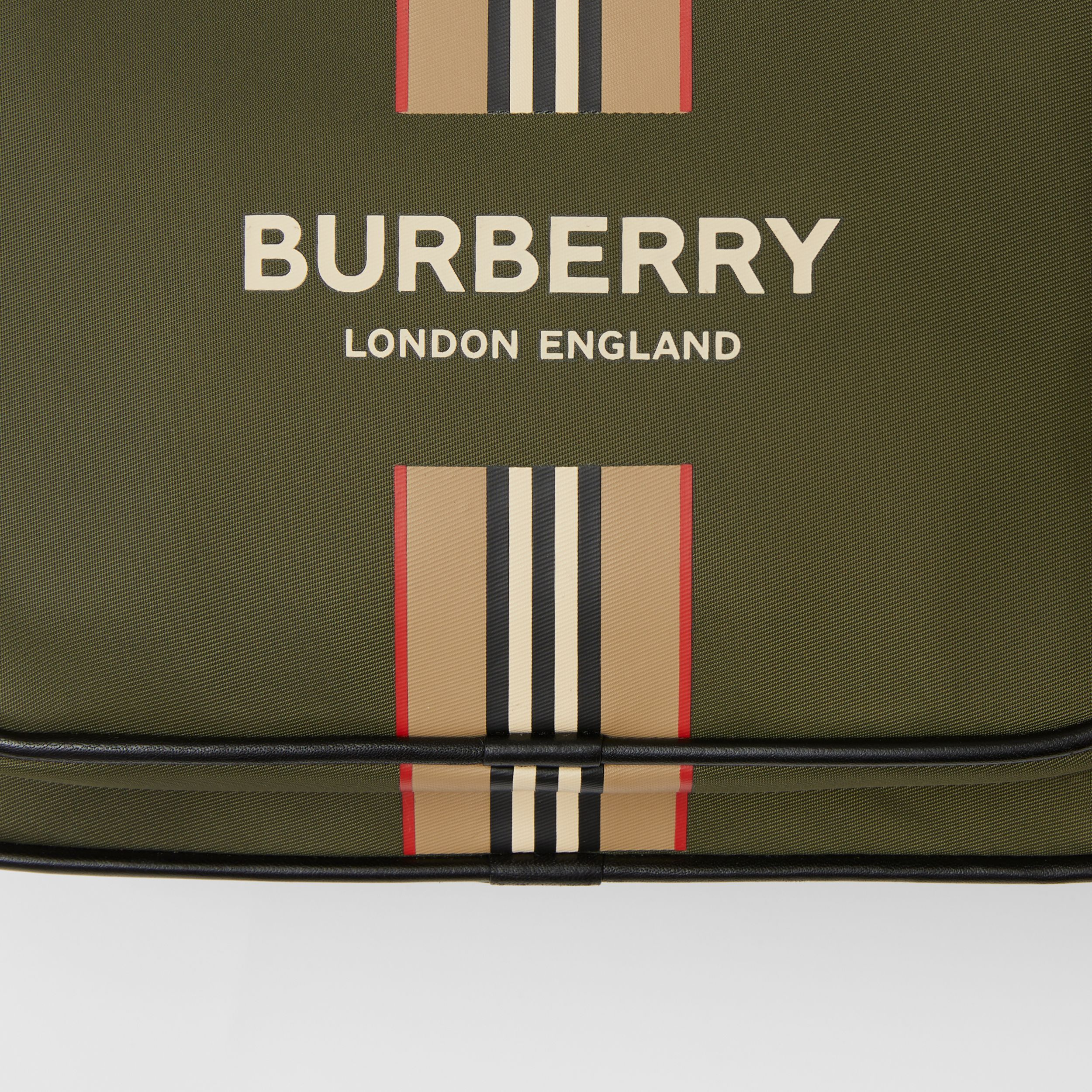 Logo and Icon Stripe Print ECONYL® Crossbody Bag in Dark Olive Green - Men | Burberry - 2
