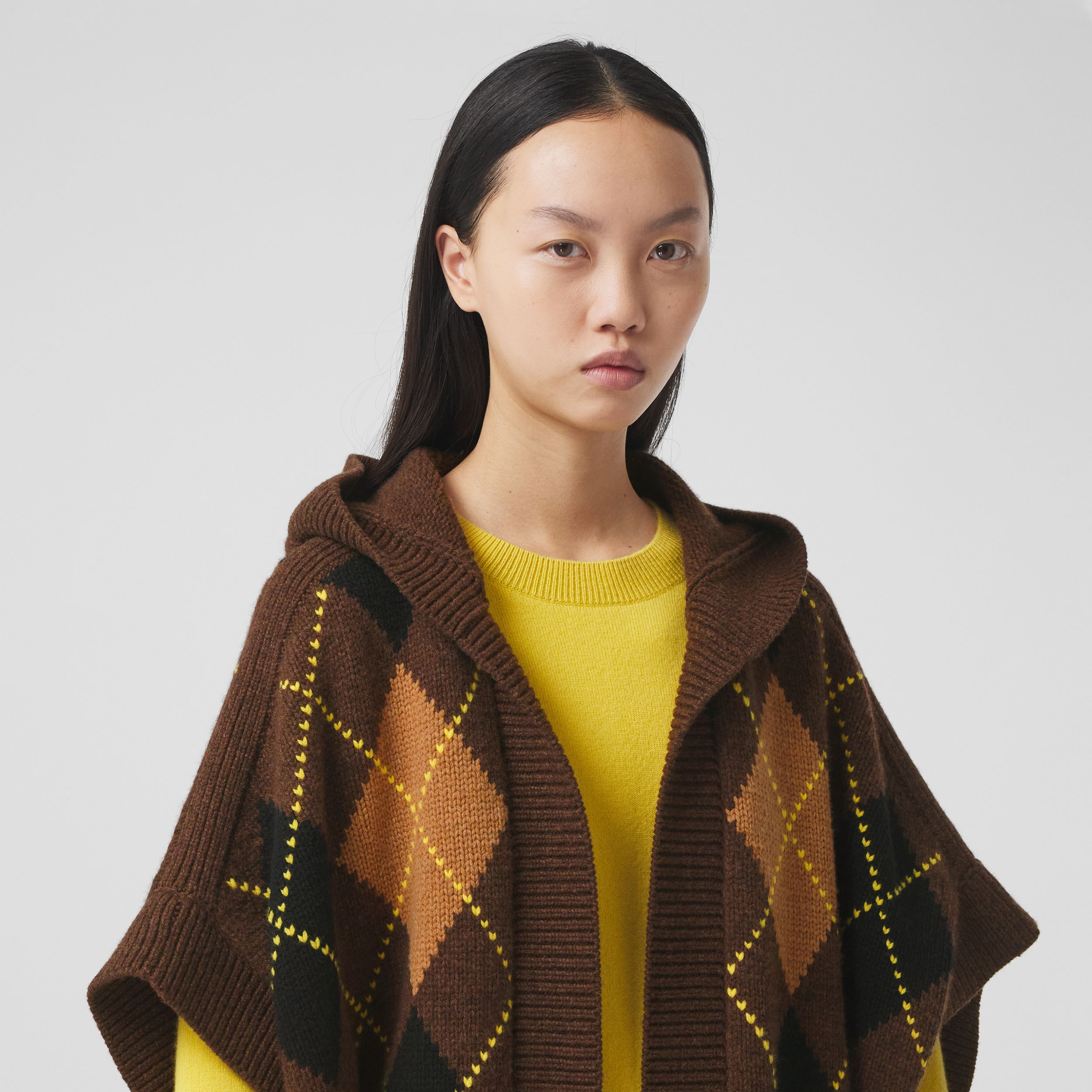 Argyle Intarsia Wool Cashmere Hooded Cape in Brown - Women | Burberry Hong Kong S.A.R. - 2