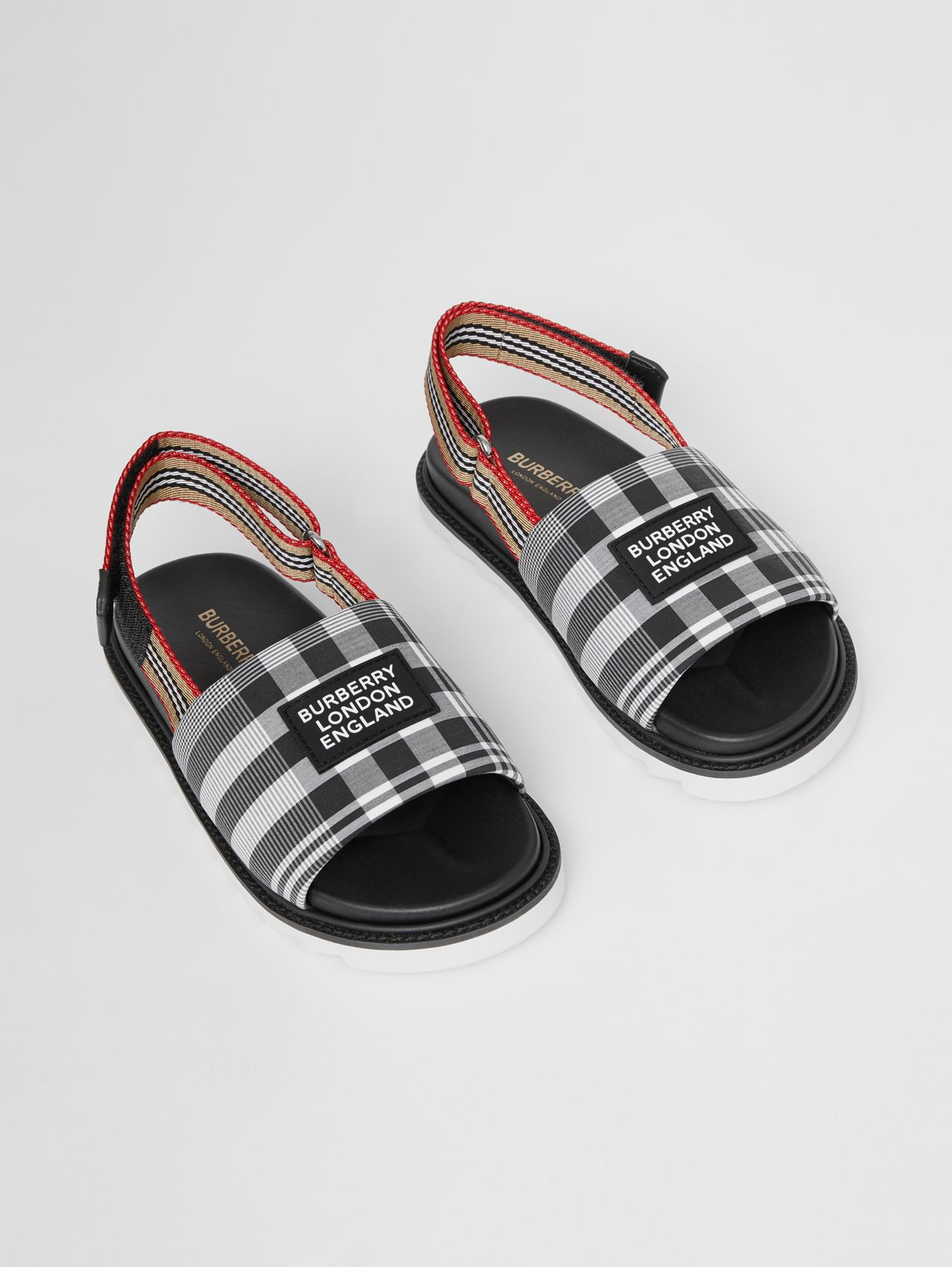 Icon Stripe Detail Check Cotton Poplin Sandals in Black/white