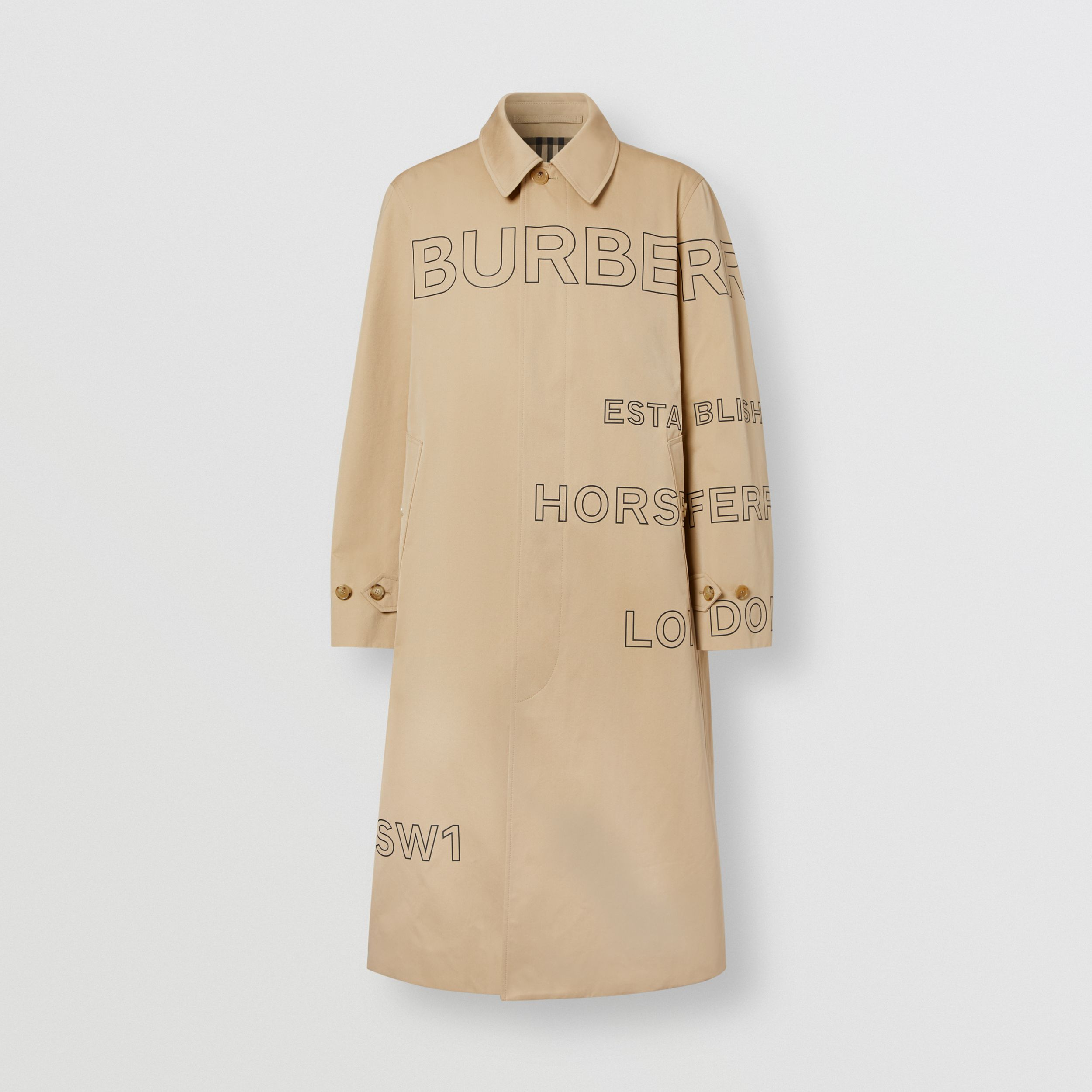Horseferry Print Cotton Gabardine Car Coat in Honey - Men | Burberry - 4
