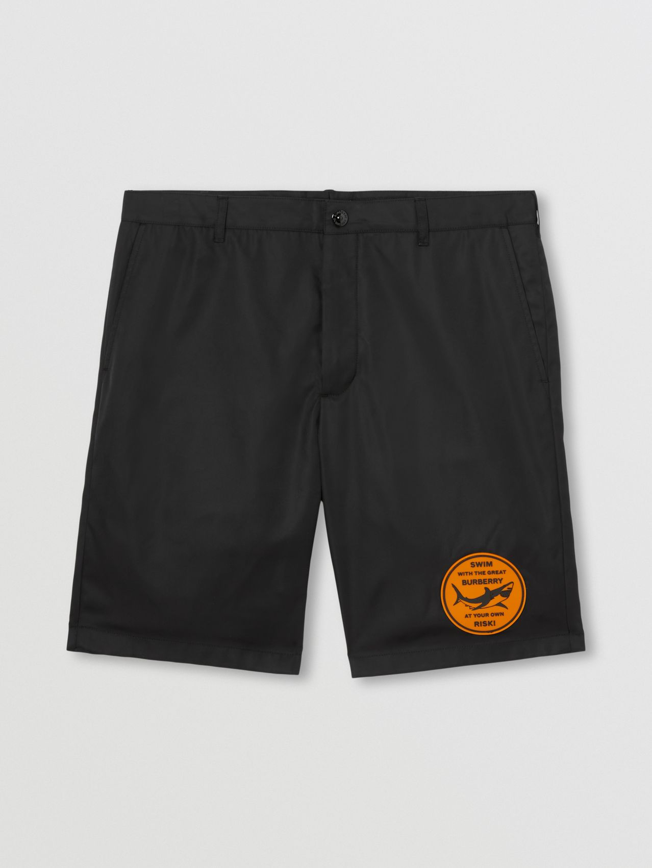 Shark Graphic Nylon Twill Chino Shorts in Black