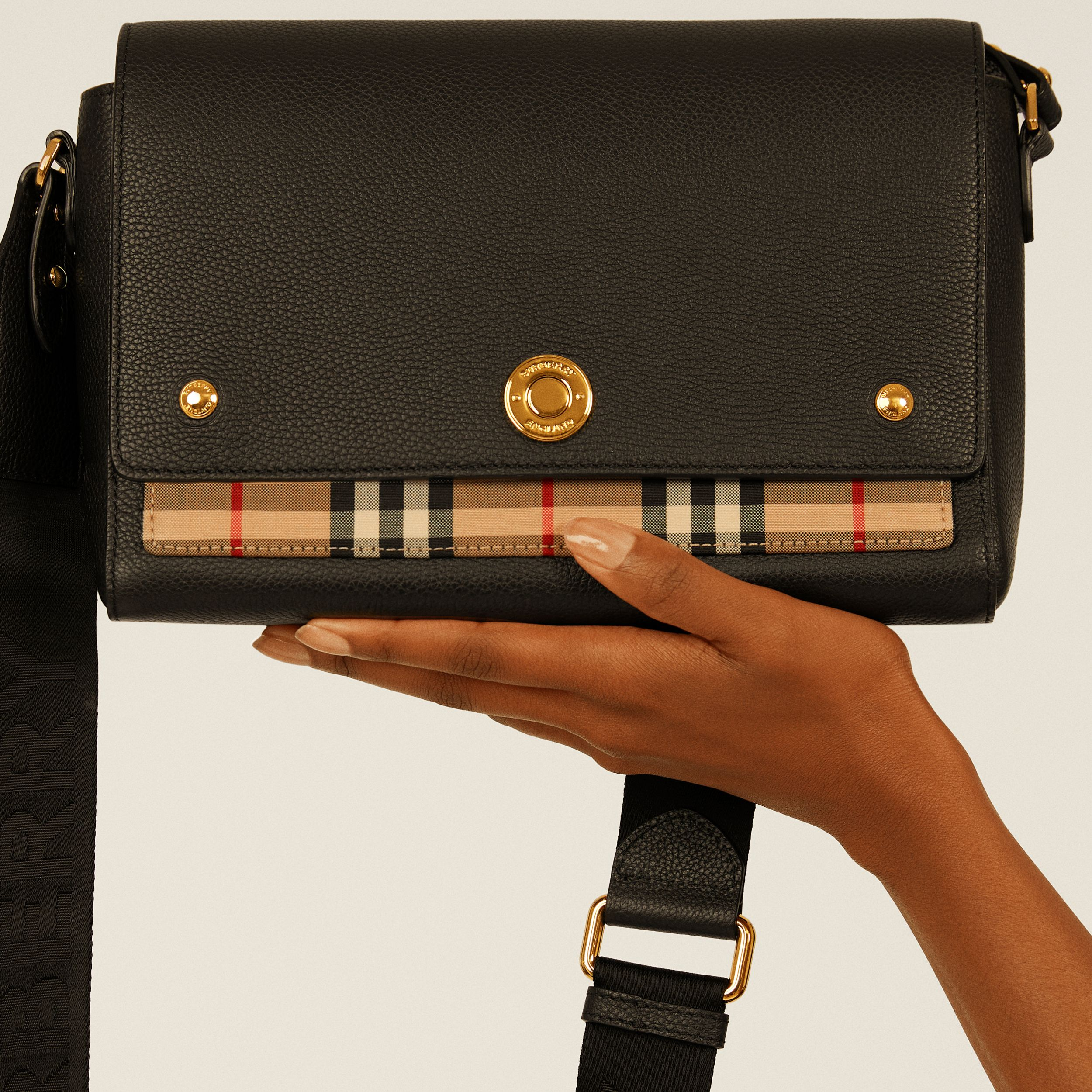 Leather and Vintage Check Note Crossbody Bag in Black - Women | Burberry Australia - 2