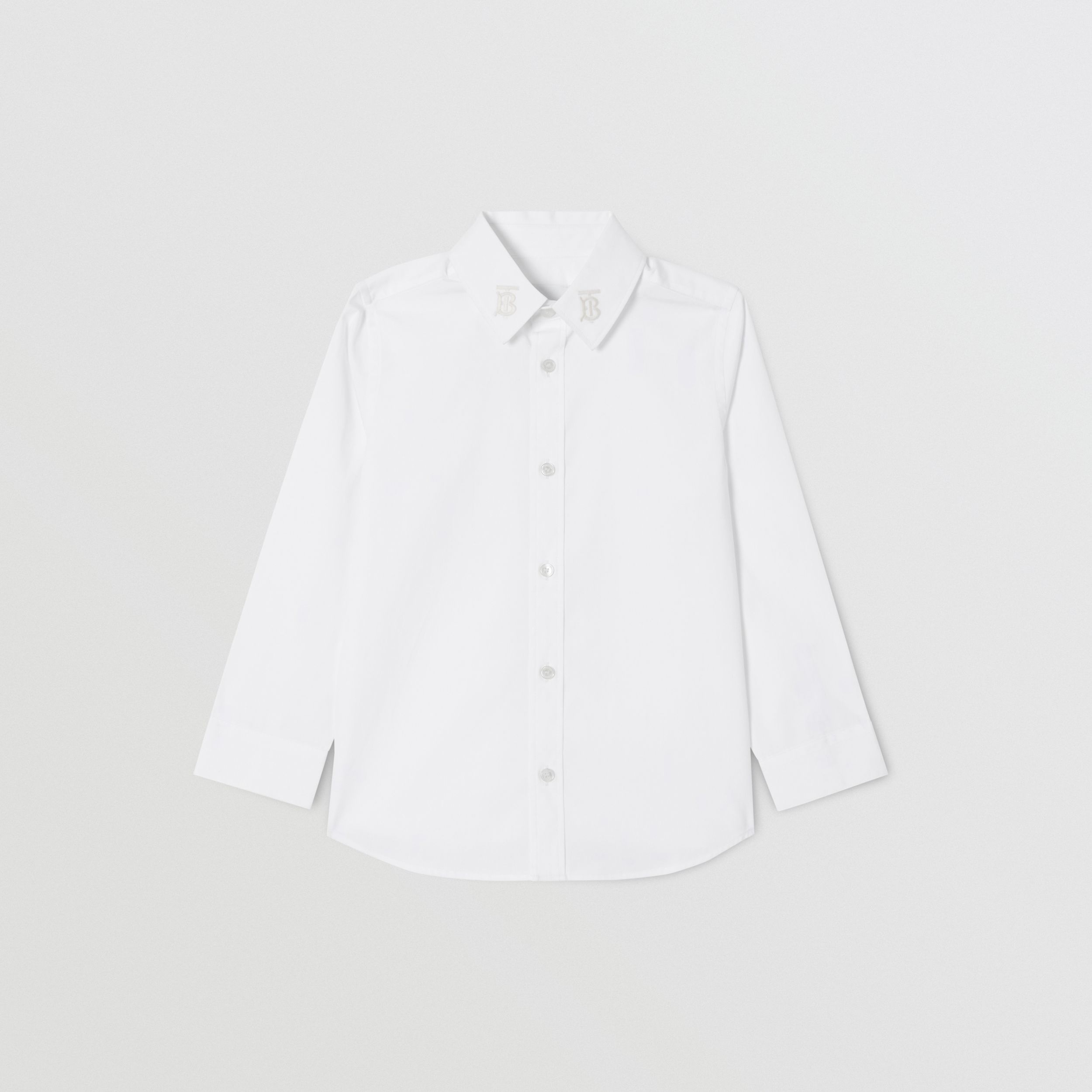 Monogram Motif Stretch Cotton Poplin Shirt | Burberry - 1