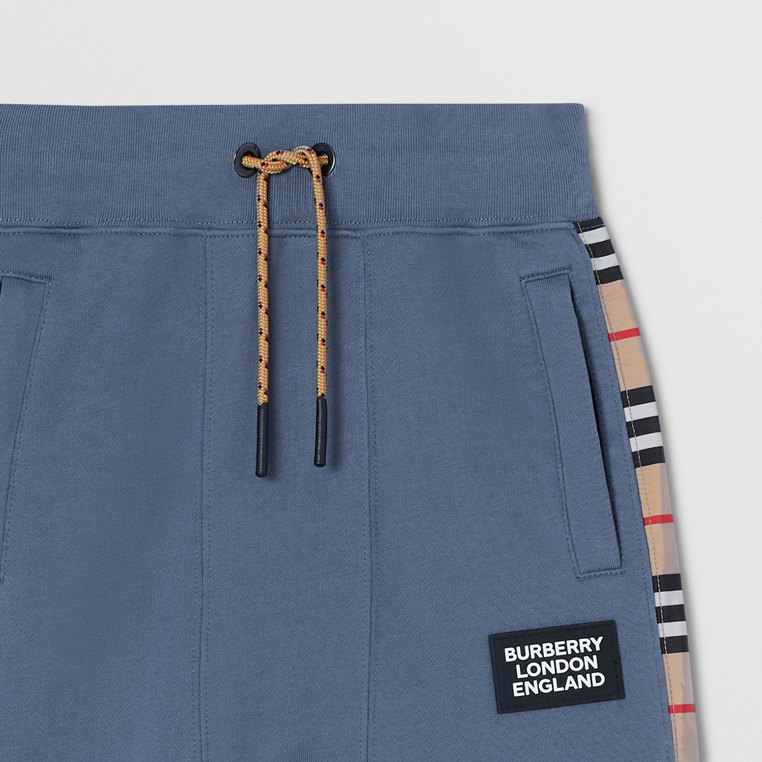 Icon Stripe Panel Cotton Trackpants in Steel Blue | Burberry United Kingdom - 4