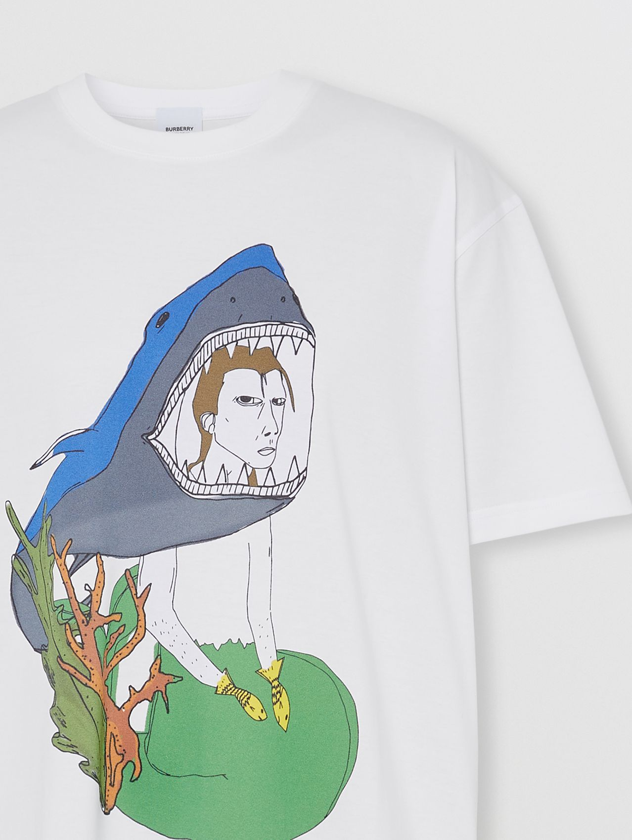 Marine Sketch Print Cotton Oversized T-shirt in White