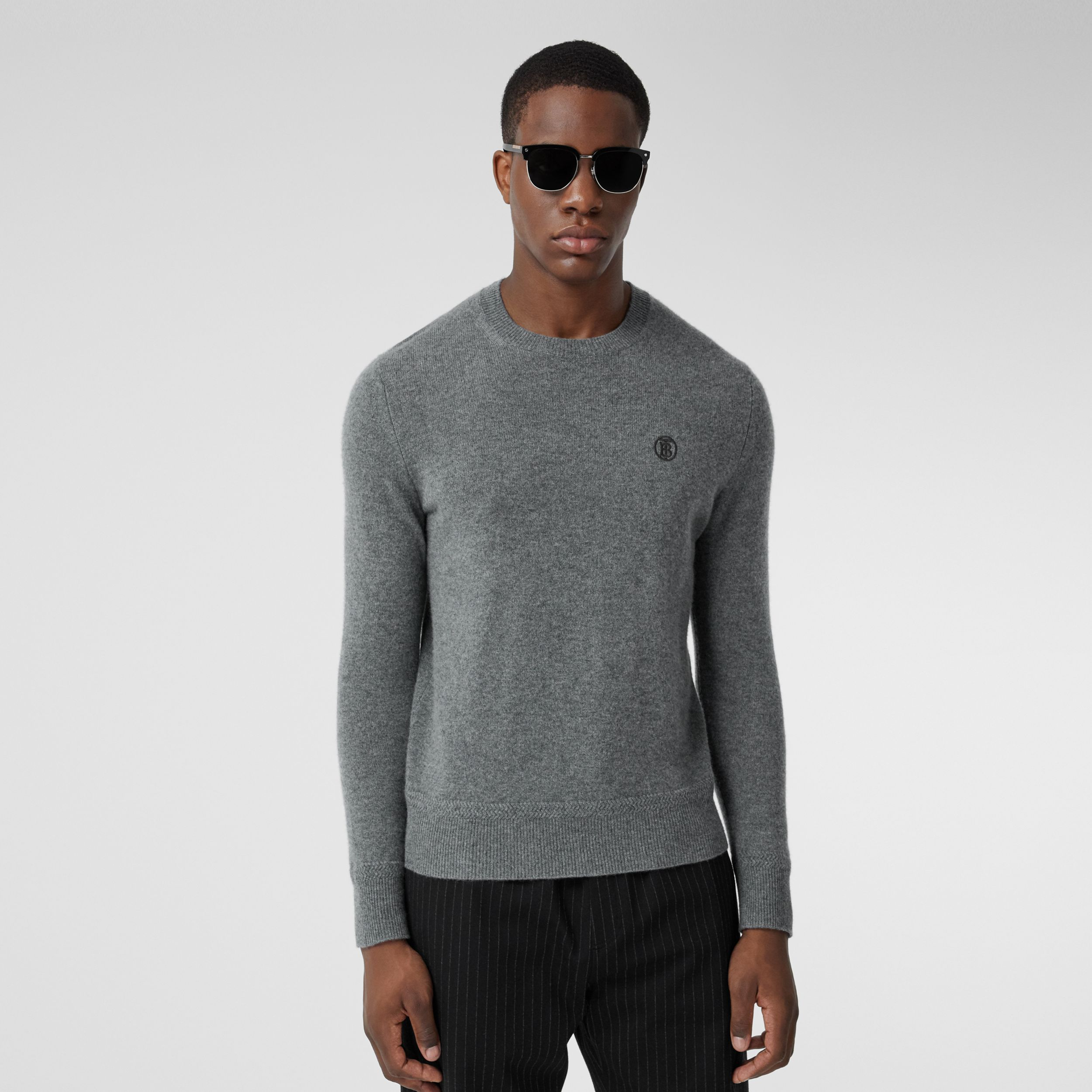 Monogram Motif Cashmere Sweater in Mid Grey Melange - Men | Burberry - 1
