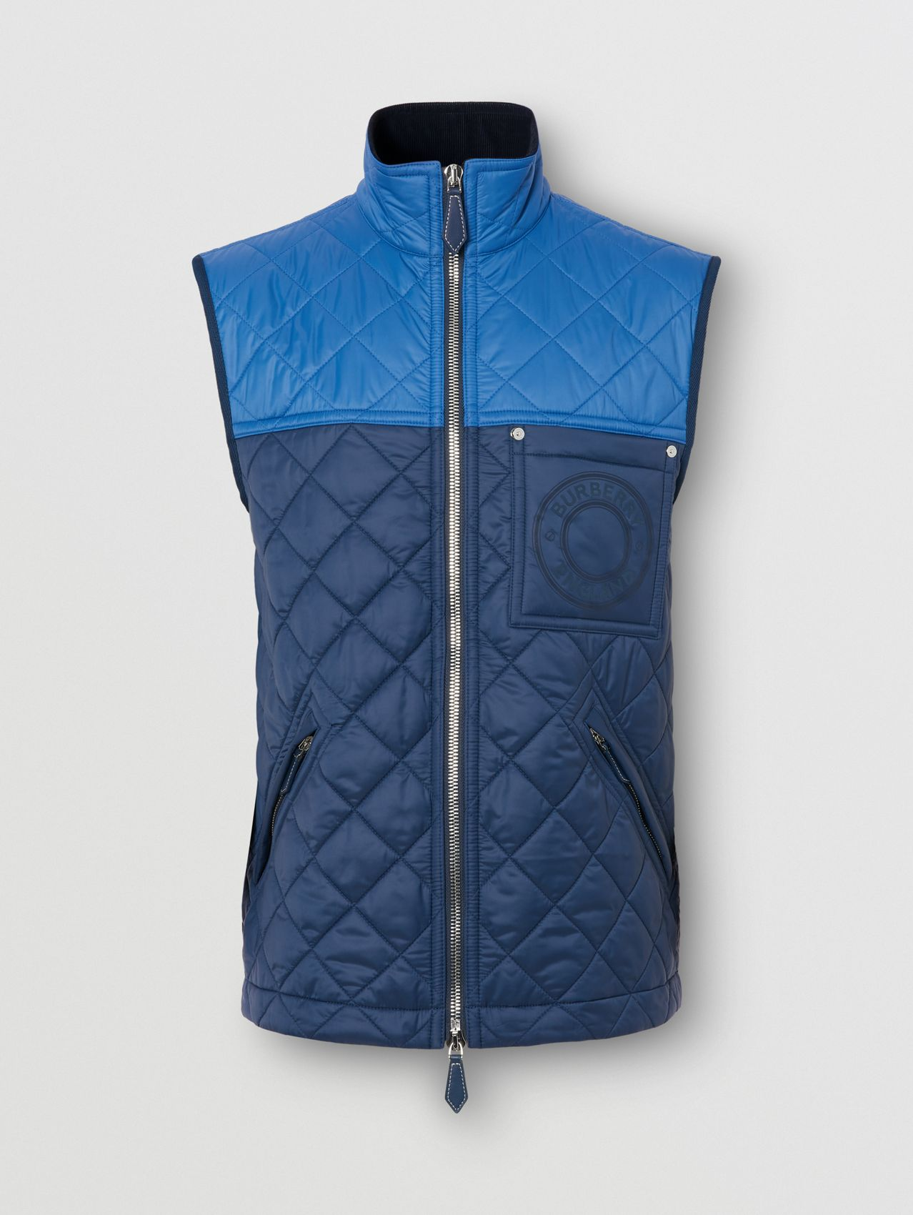 Logo Graphic Colour Block Recycled Nylon Gilet in Ink Blue