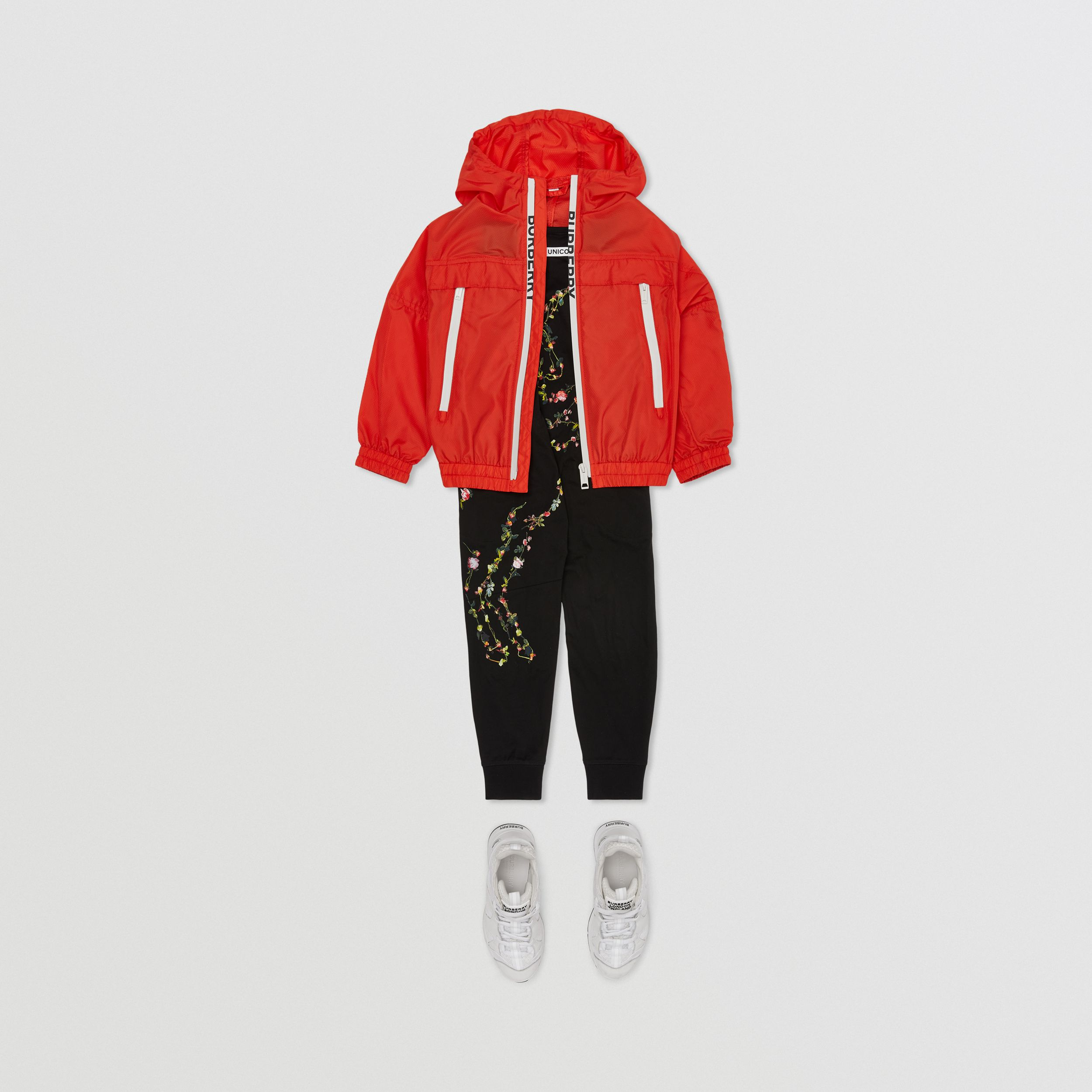 Logo Print Lightweight Hooded Jacket in Orange Red | Burberry - 3