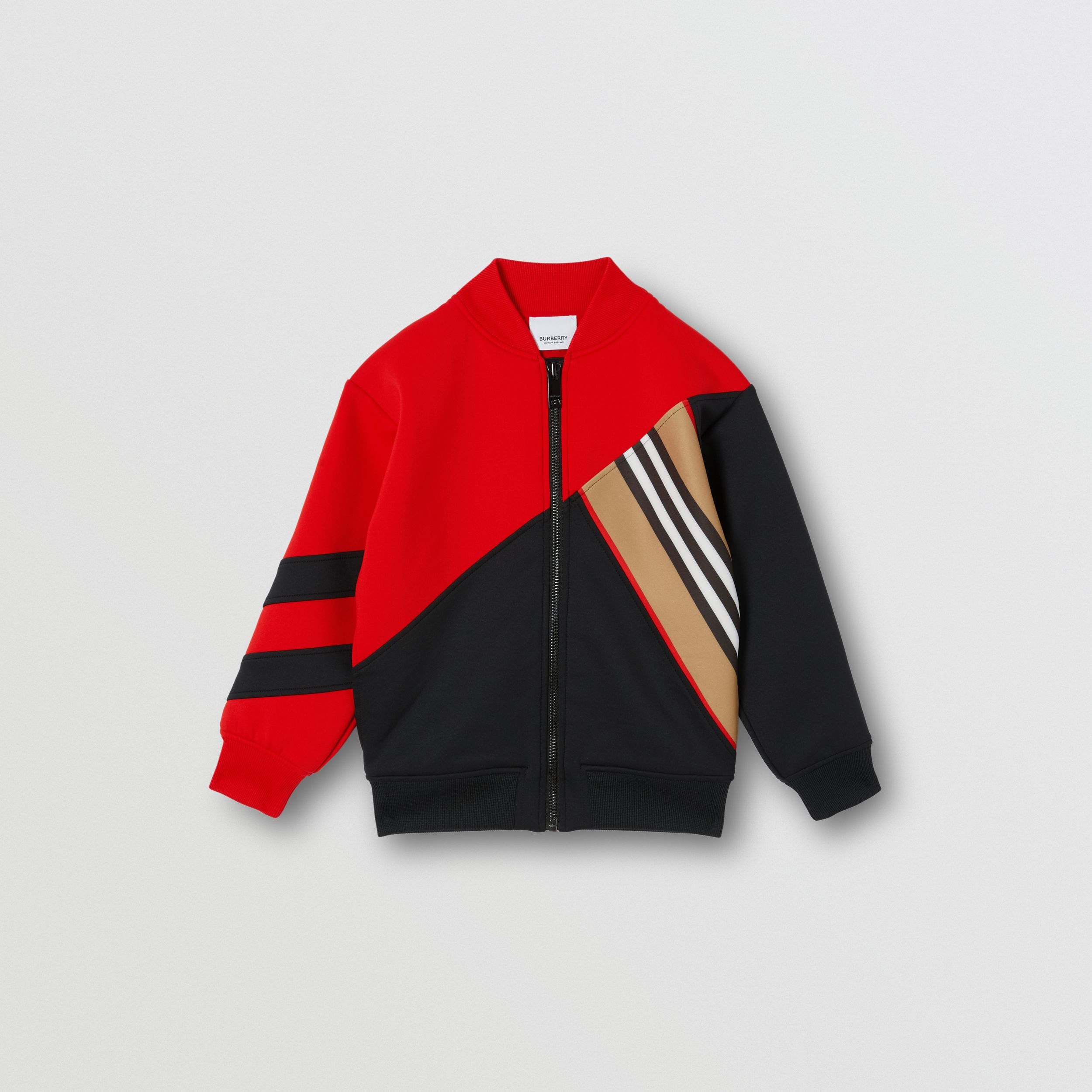 Icon Stripe Detail Stretch Jersey Track Top in Bright Red | Burberry - 1