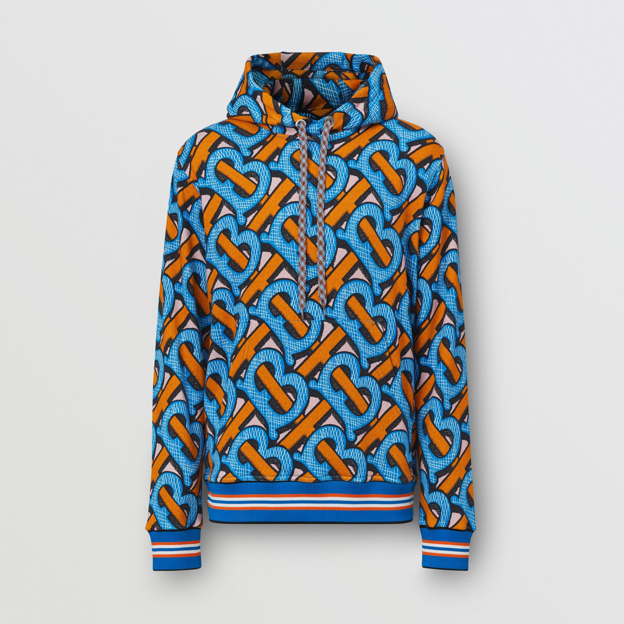 Monogram Print Cotton Hoodie – Unisex in Bright Cobalt | Burberry United Kingdom - 1