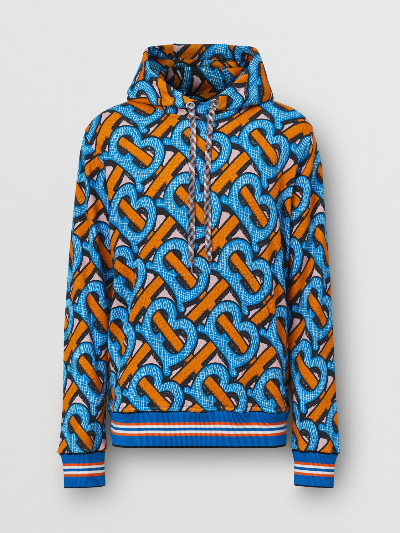 Monogram Print Cotton Hoodie – Unisex in Bright Cobalt