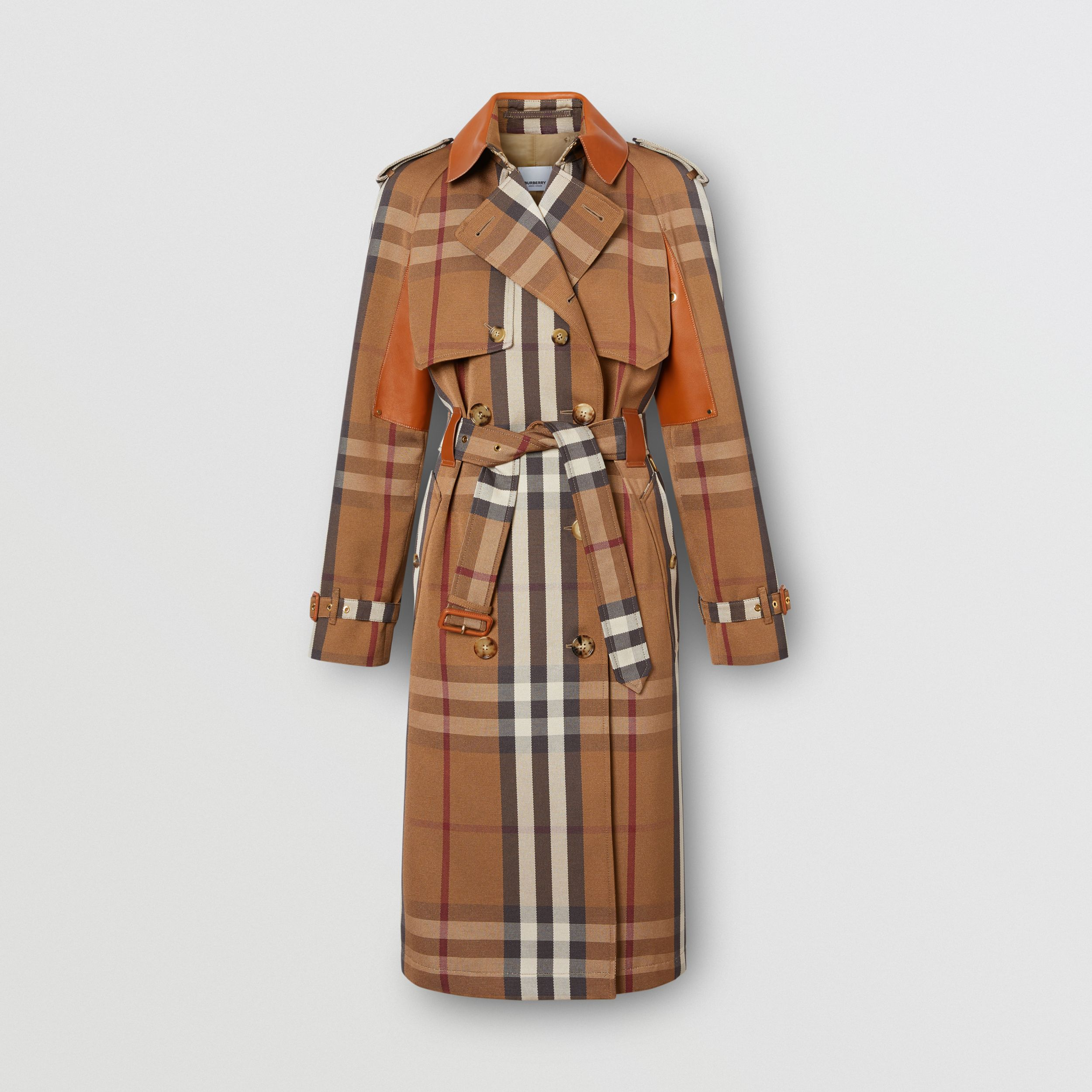 Leather Panel Check Technical Cotton Trench Coat in Birch Brown - Women | Burberry Canada - 3