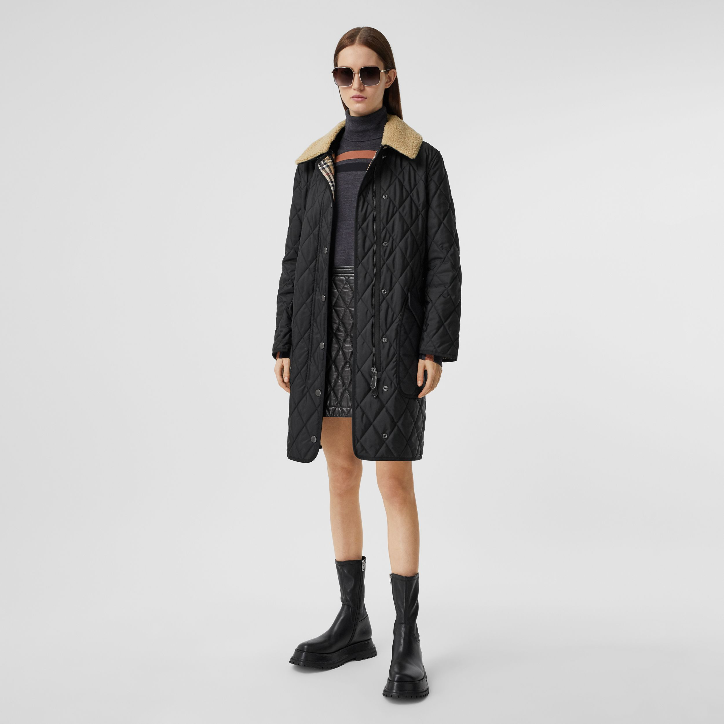 Detachable Fleece Collar Diamond Quilted Coat in Black - Women | Burberry - 1