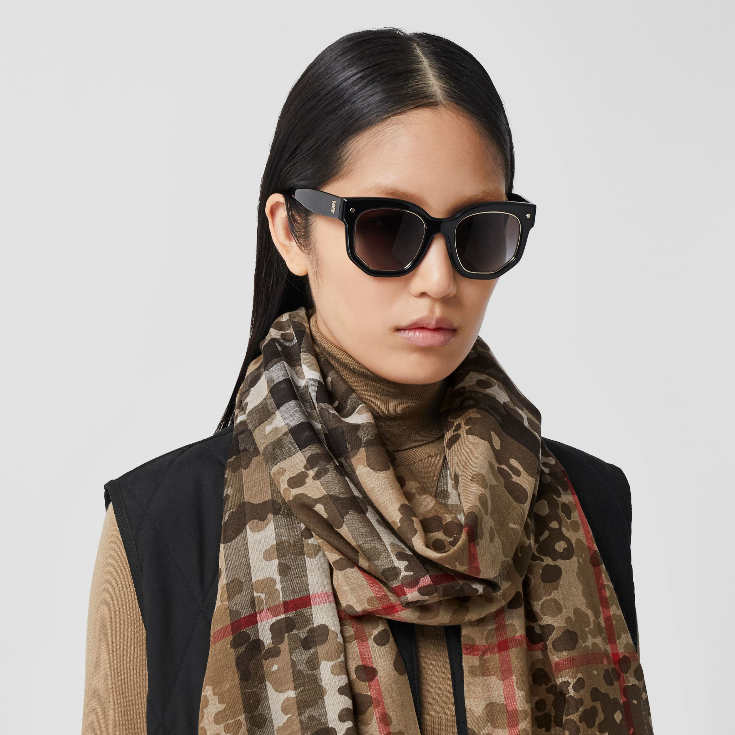 Lightweight Camouflage Check Wool Silk Scarf | Burberry - 3