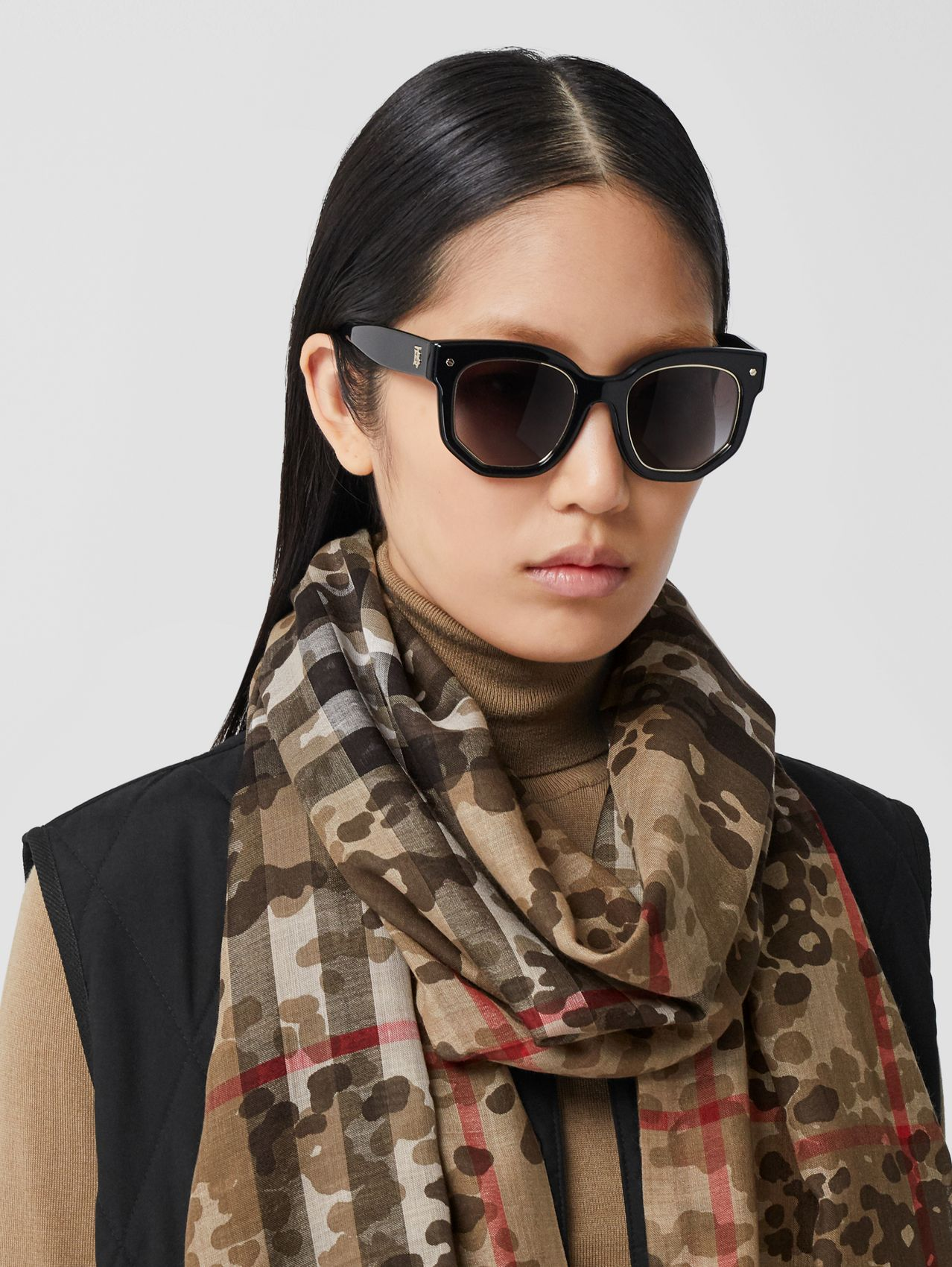 Lightweight Camouflage Check Wool Silk Scarf