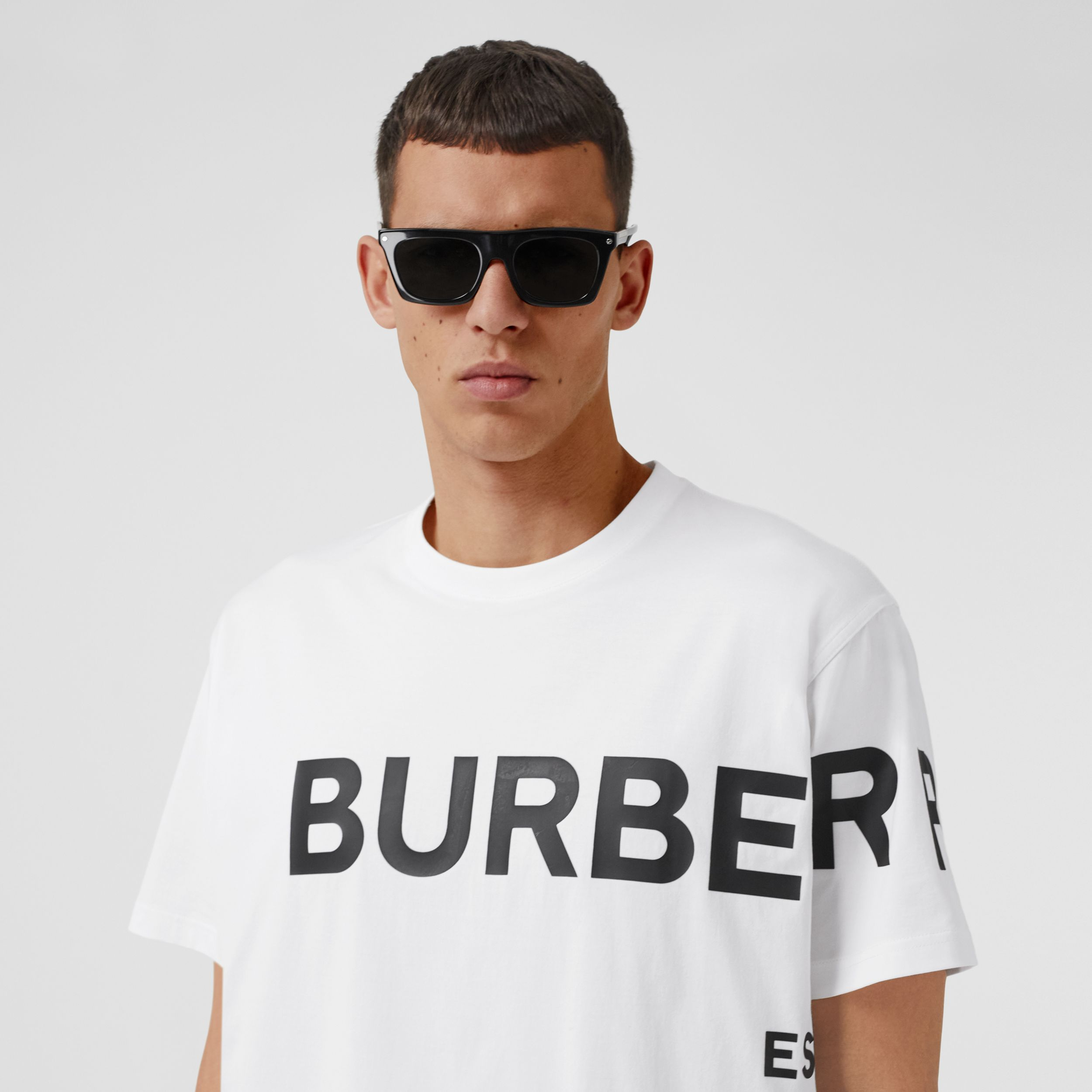 Horseferry Print Cotton Oversized T-shirt in White - Men | Burberry - 2