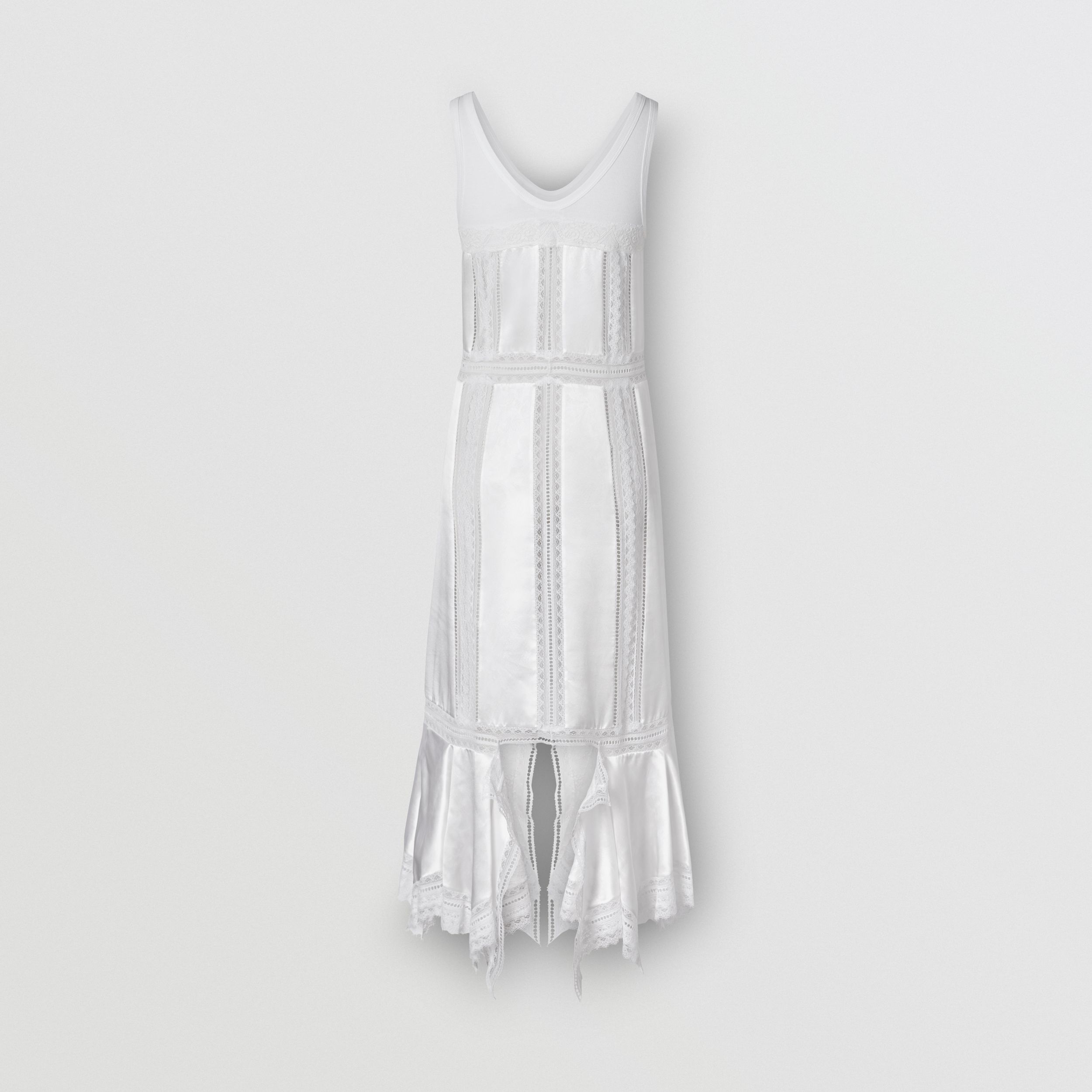 Chantilly Lace and Silk Satin Slip Dress in Optic White - Women | Burberry - 3