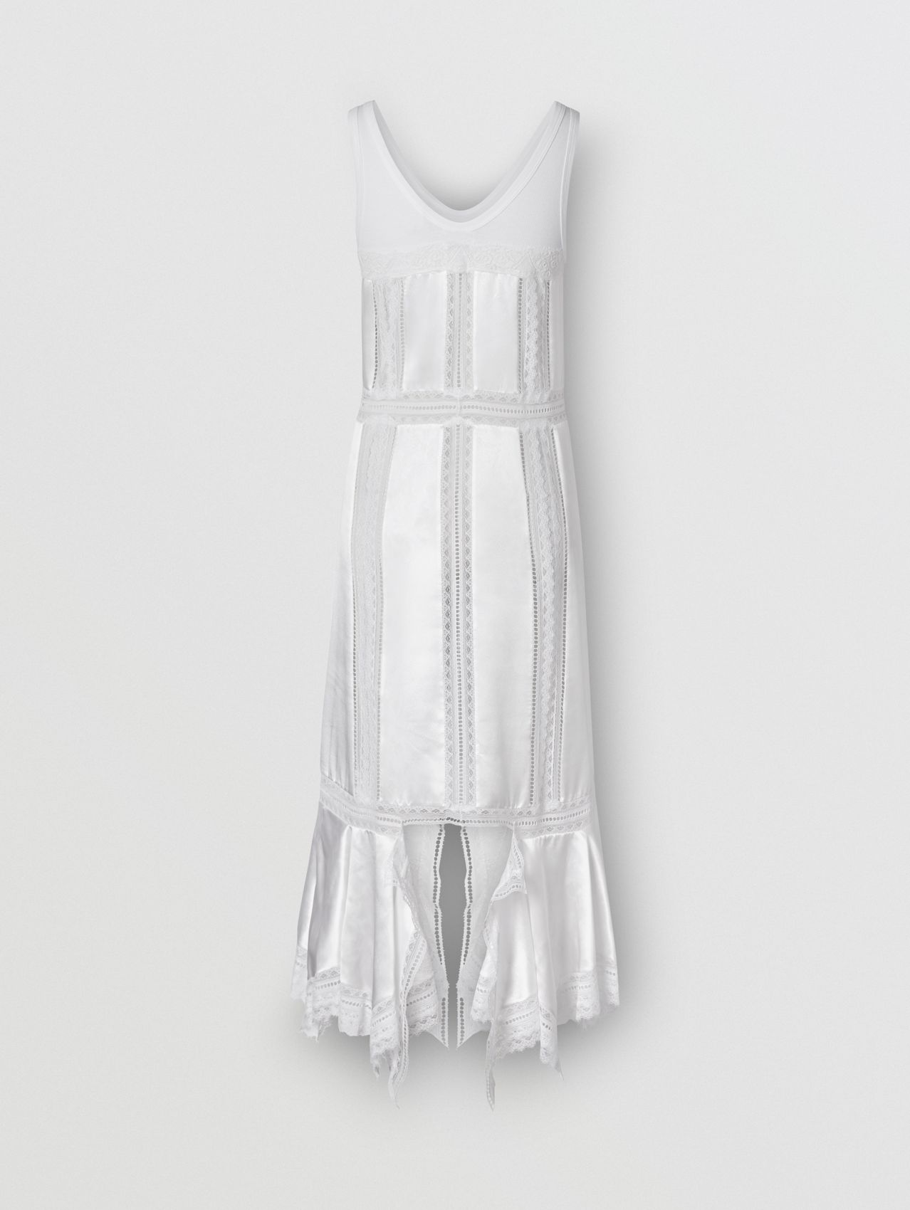 Chantilly Lace and Silk Satin Slip Dress in Optic White