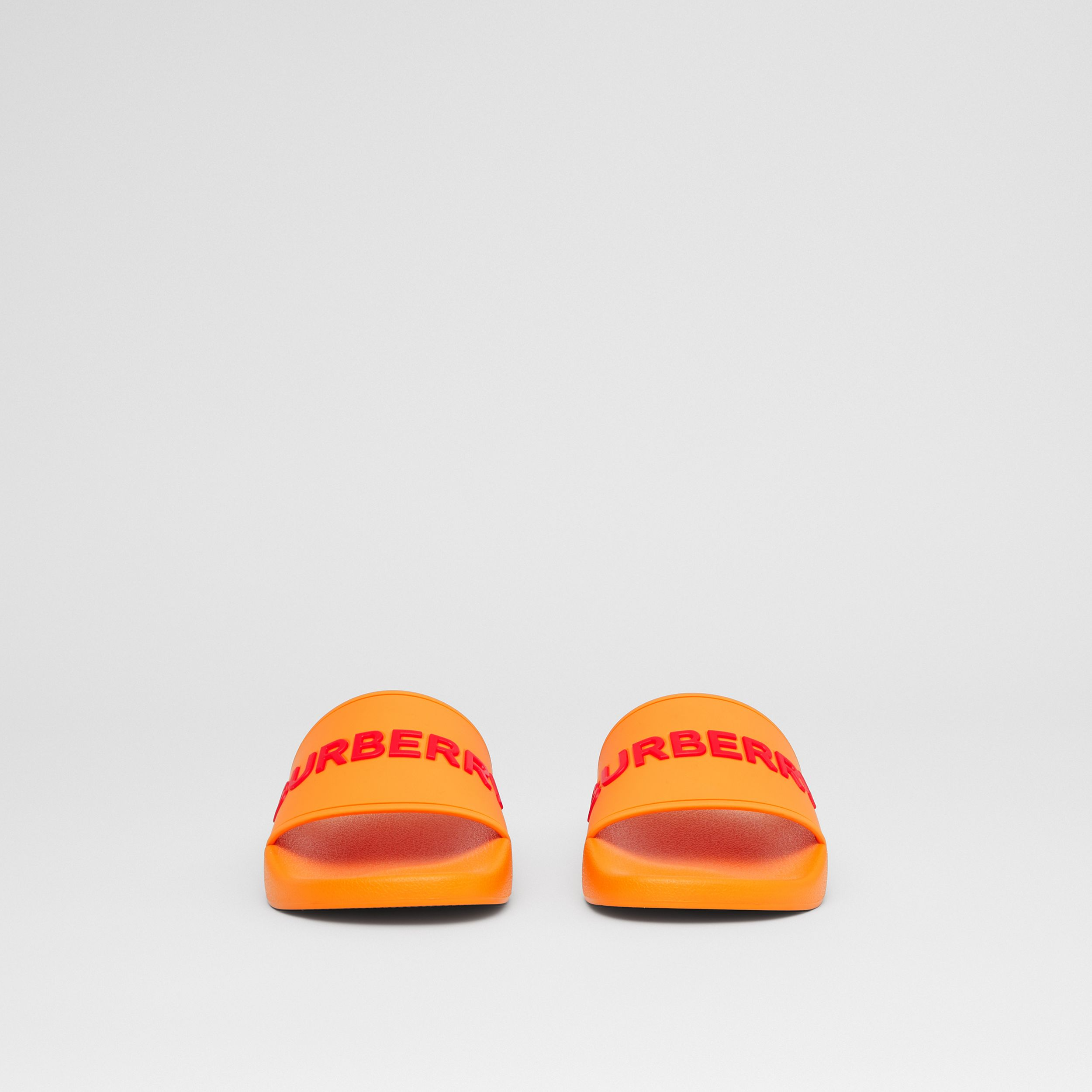 Logo Detail Slides in Deep Orange - Women | Burberry - 4