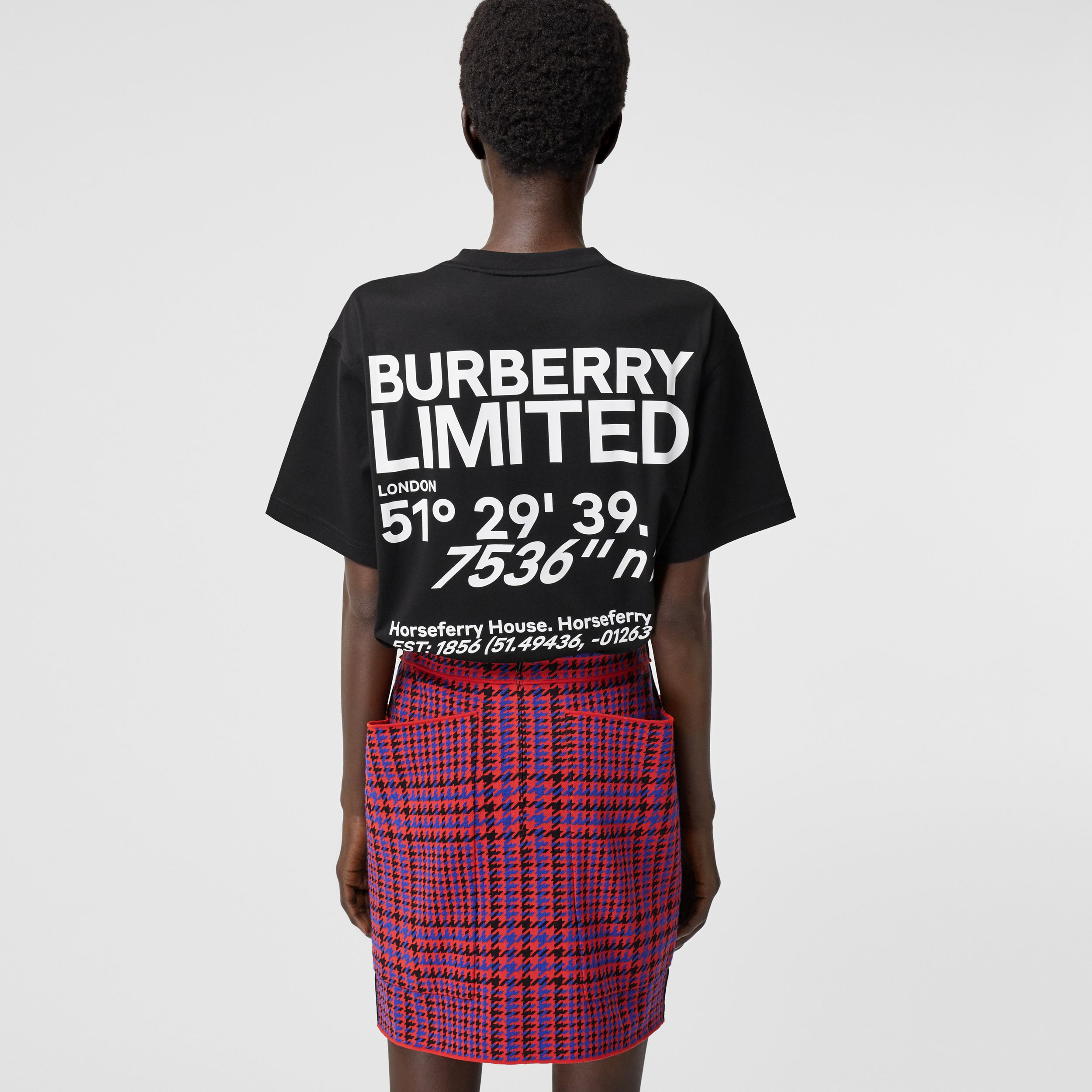 Coordinates Print Cotton Oversized T-shirt in Black - Women | Burberry - 3