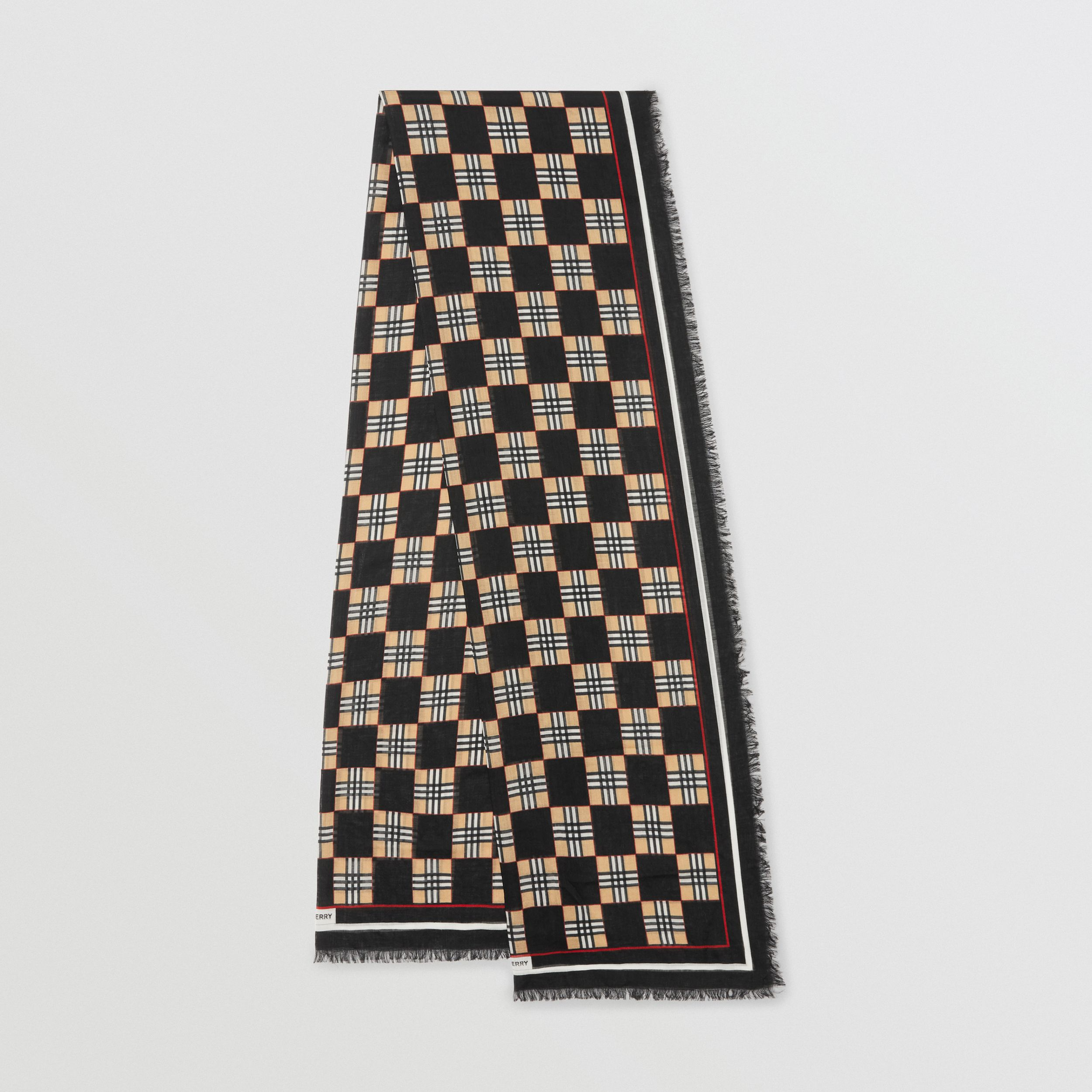 Chequer Print Wool Silk Scarf in Black | Burberry - 1