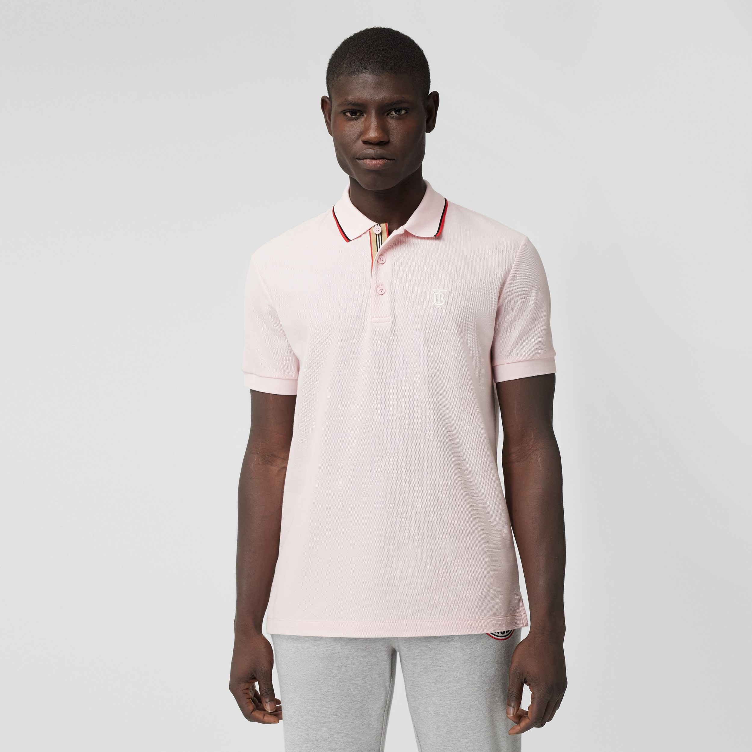 Monogram Motif Cotton Piqué Polo Shirt in Frosted Pink - Men | Burberry - 1