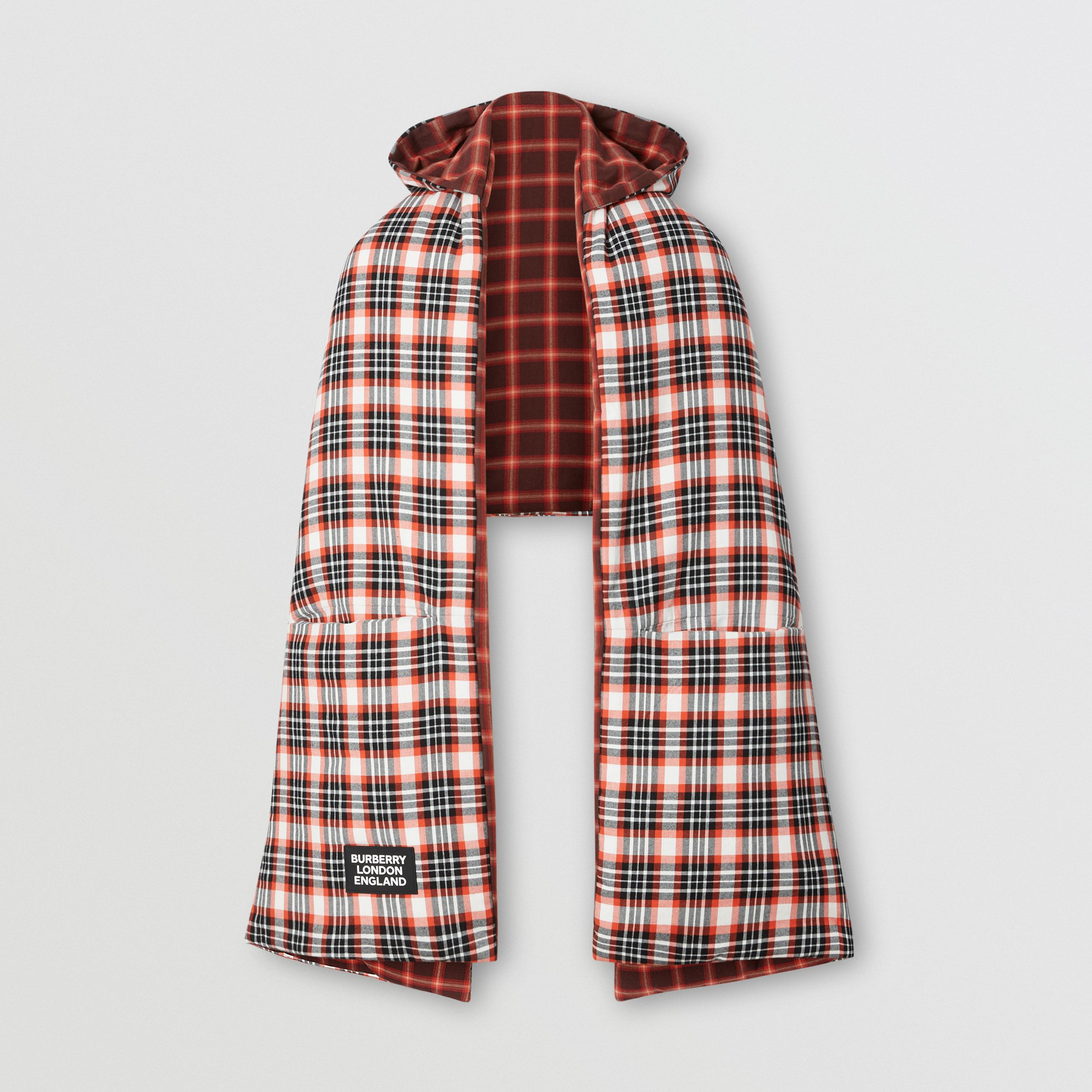 Reversible Tartan Cotton Puffer Poncho in Bright Red | Burberry - 4