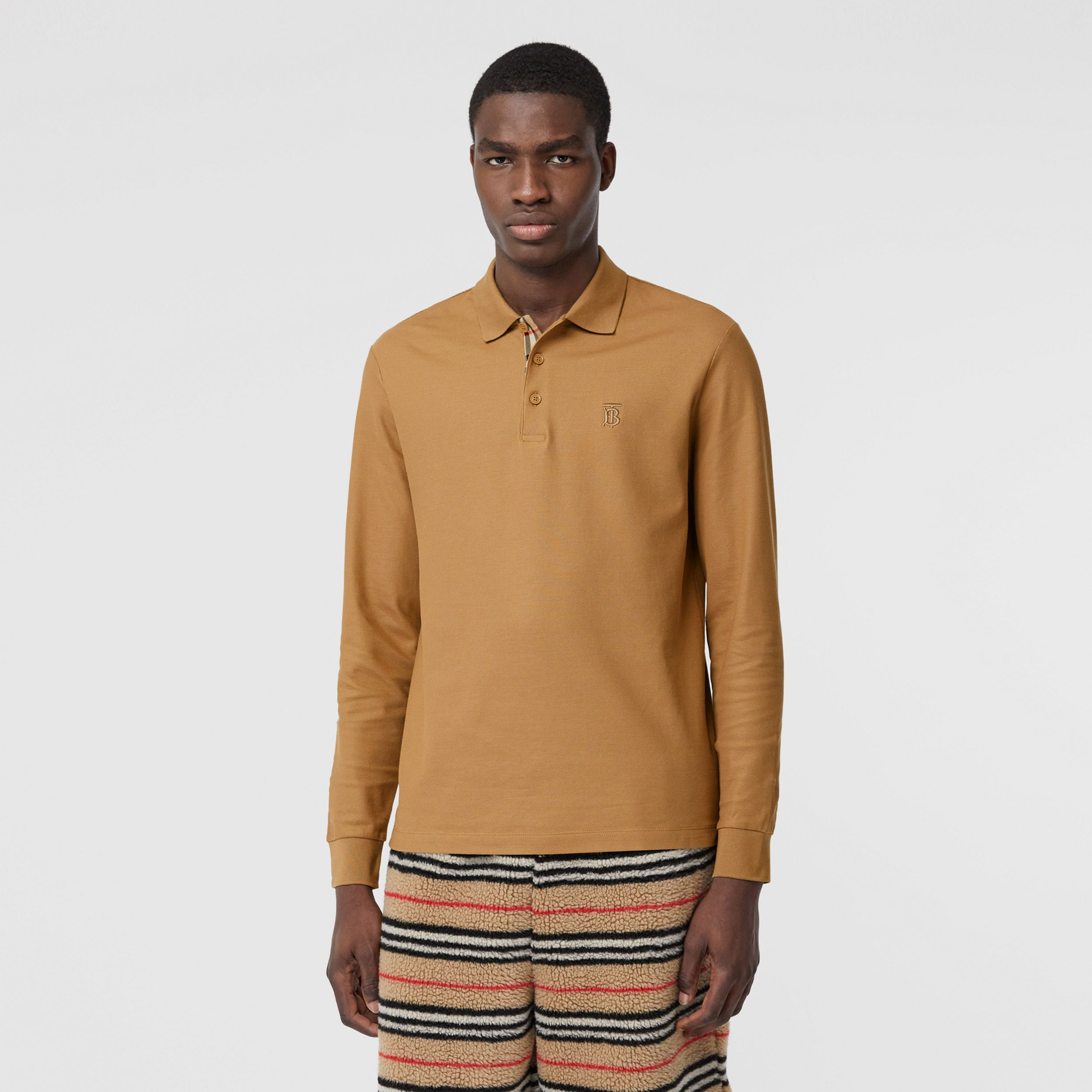 Long-sleeve Monogram Motif Cotton Piqué Polo Shirt in Camel - Men | Burberry - 1