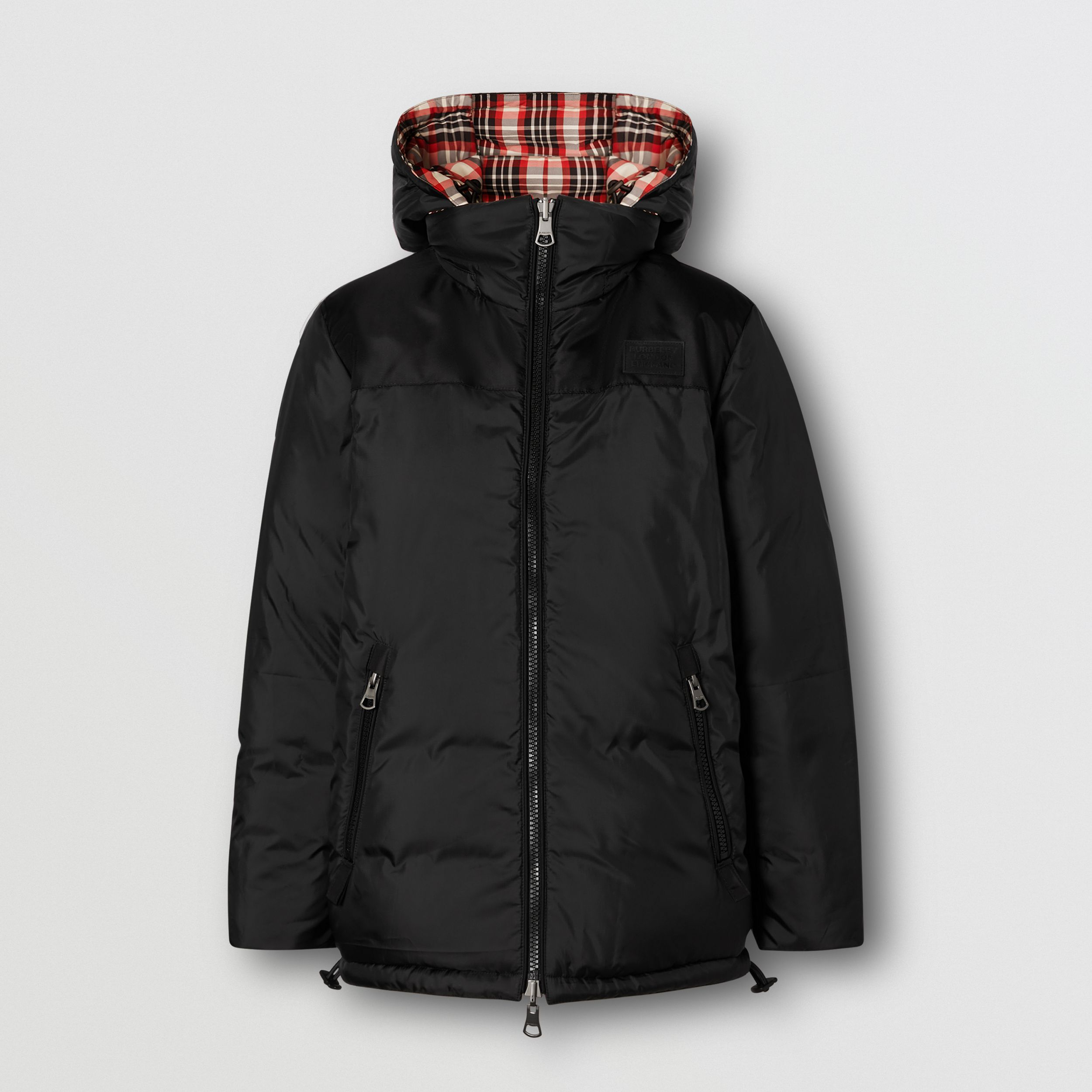 Reversible Tartan Nylon Puffer Jacket in Bright Red - Women | Burberry - 4