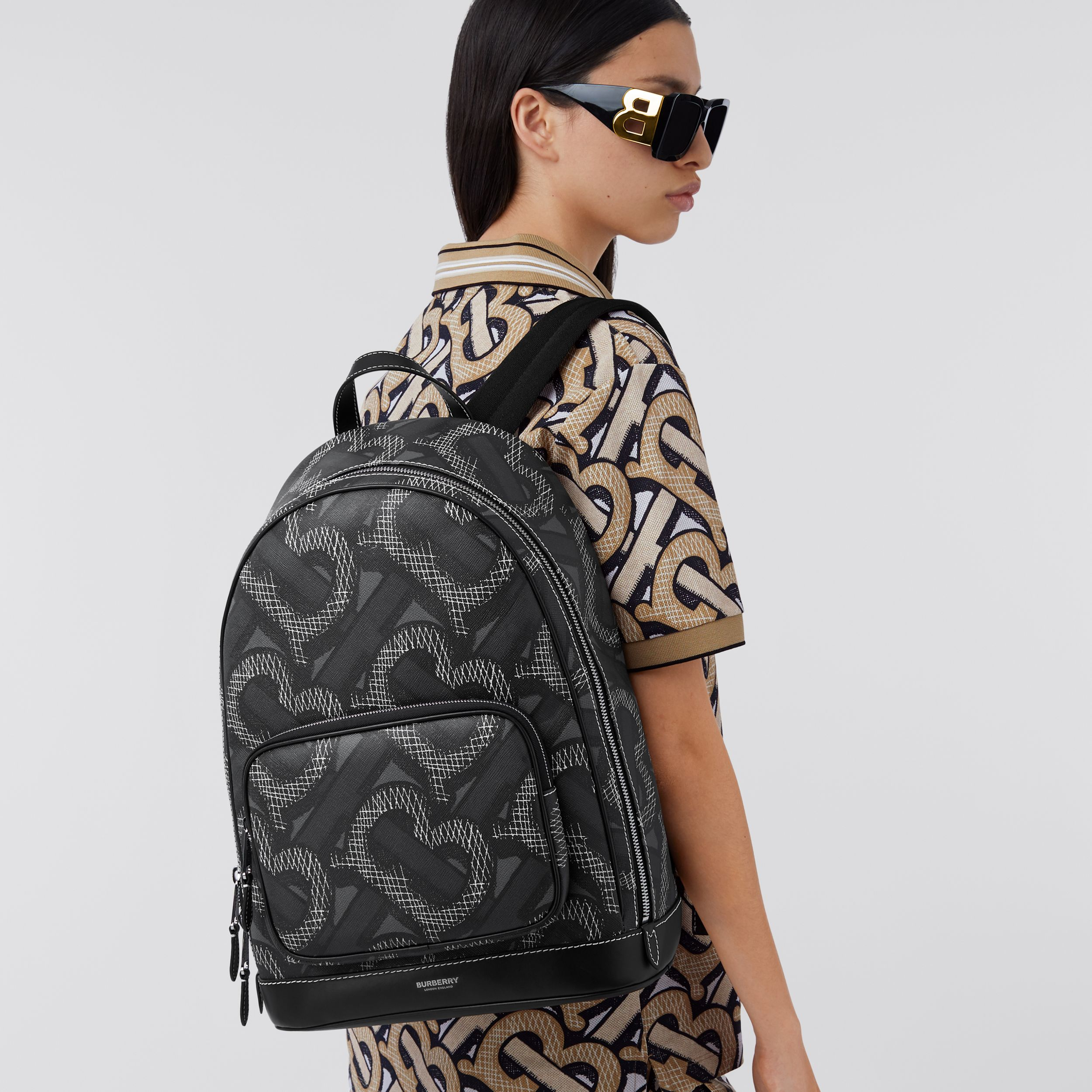 Monogram Print E-canvas Backpack in Graphite | Burberry - 3