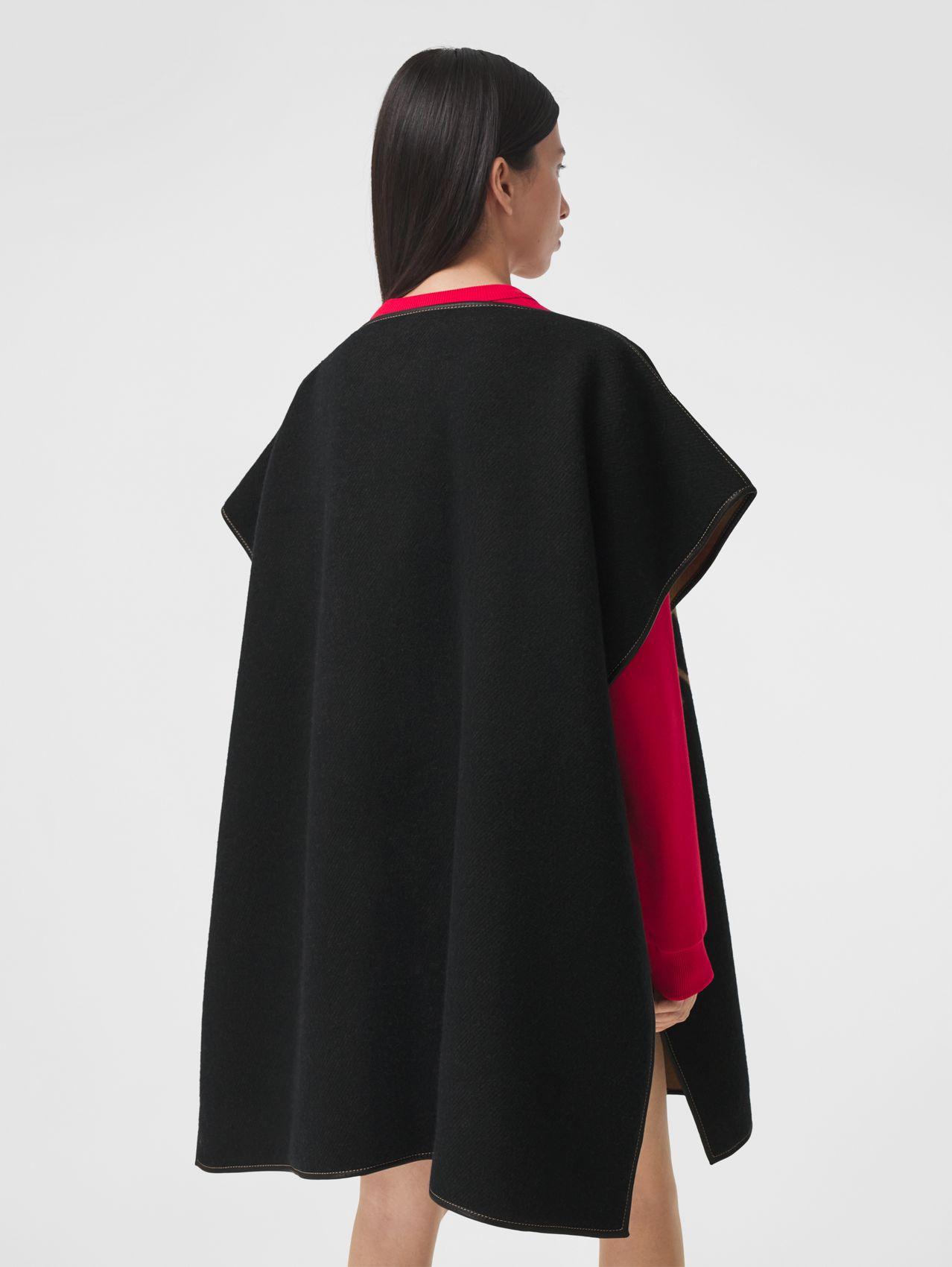 Horseferry Merino Wool Cashmere Jacquard Cape in Black
