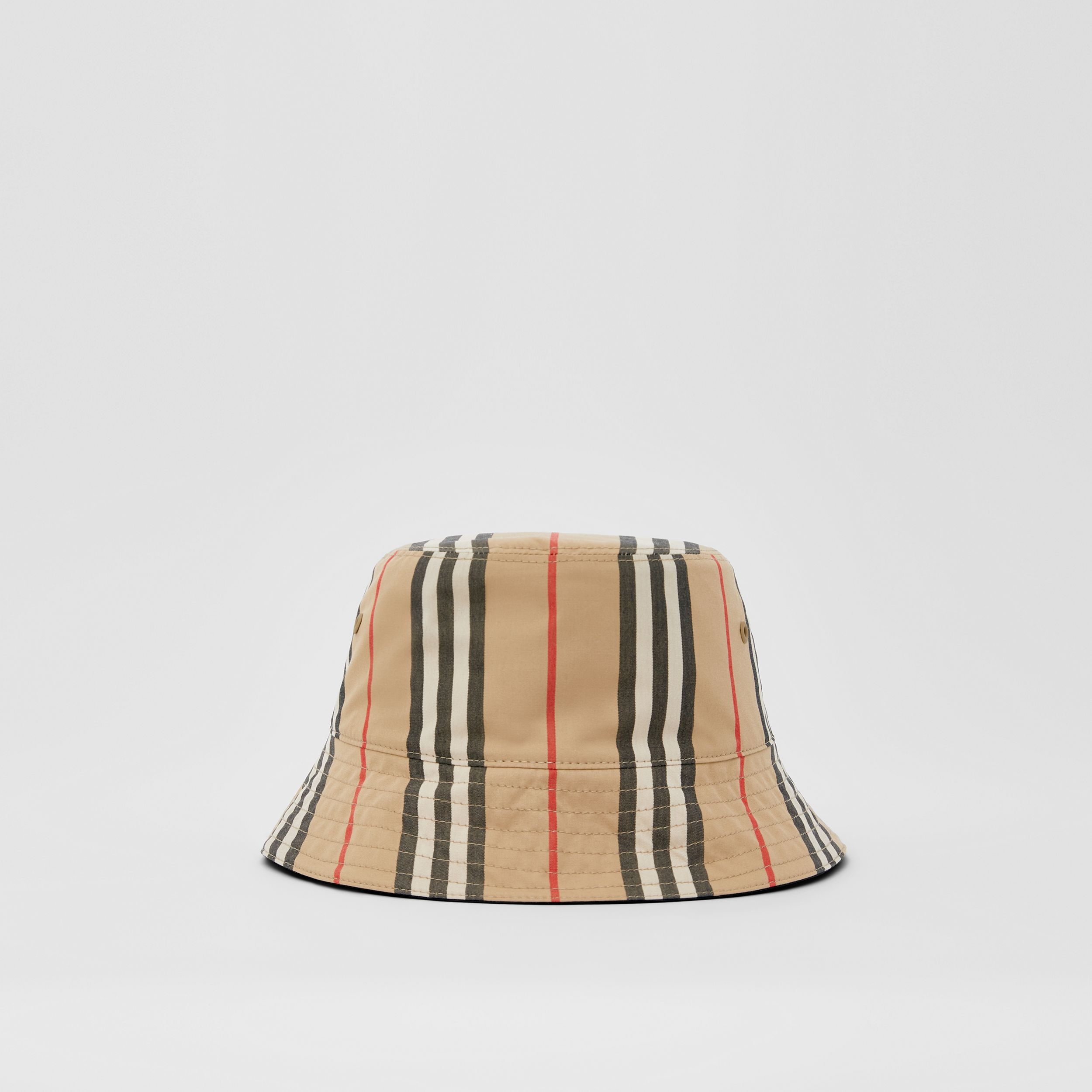 Reversible Icon Stripe Cotton Bucket Hat in Archive Beige | Burberry - 1