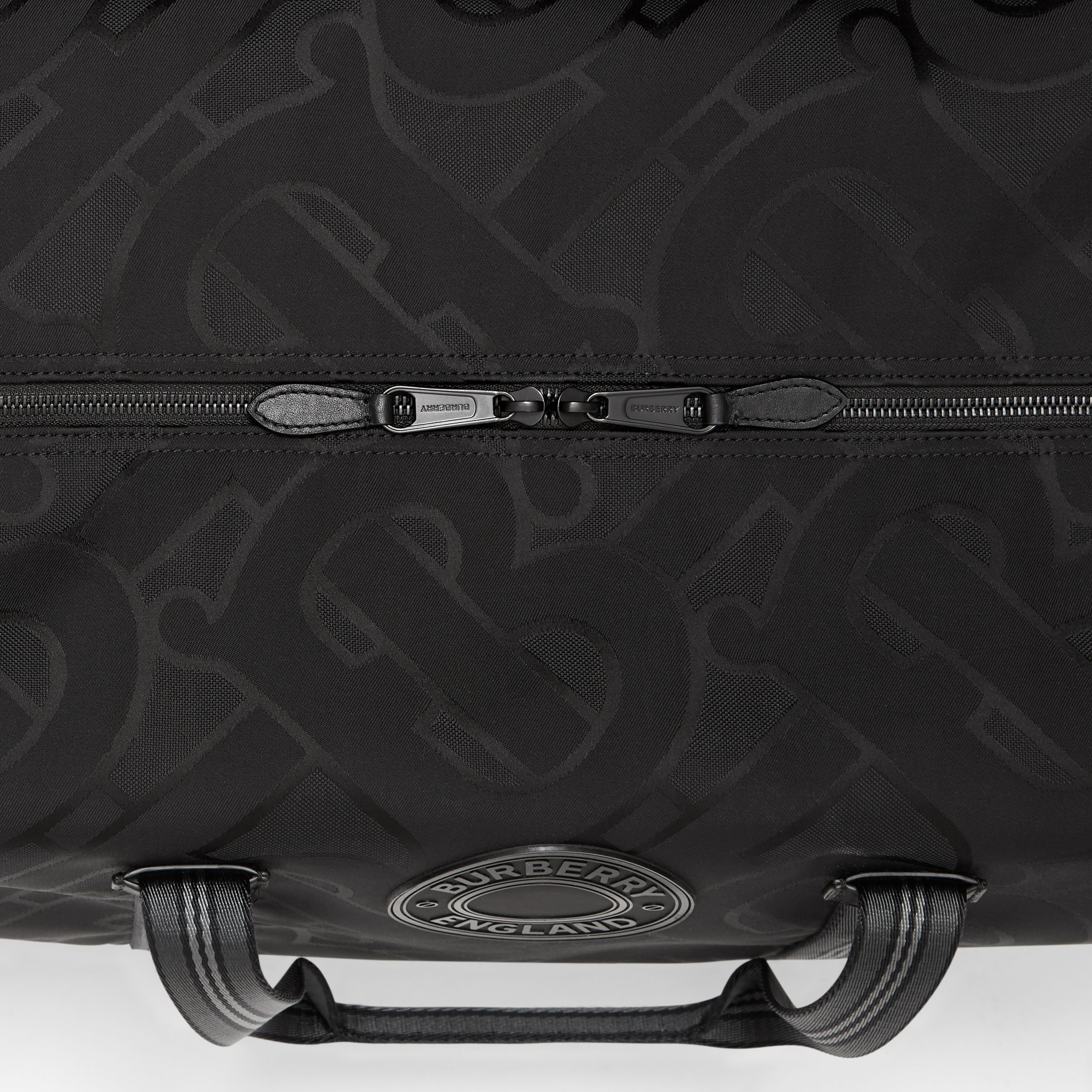 Monogram Recycled Polyester Jacquard Holdall in Black - Men | Burberry Hong Kong S.A.R. - 2