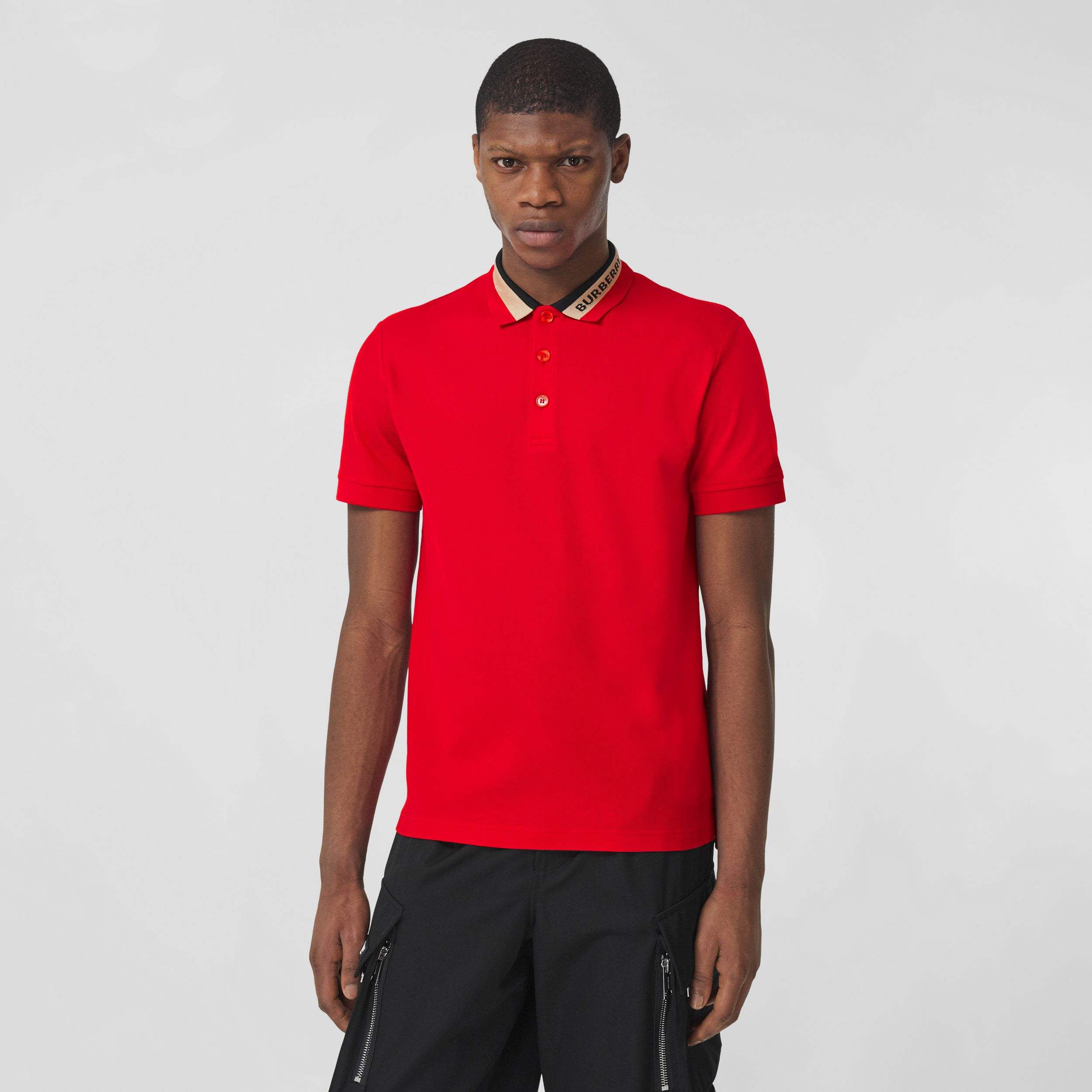 Logo Detail Cotton Piqué Polo Shirt in Bright Red - Men | Burberry - 1