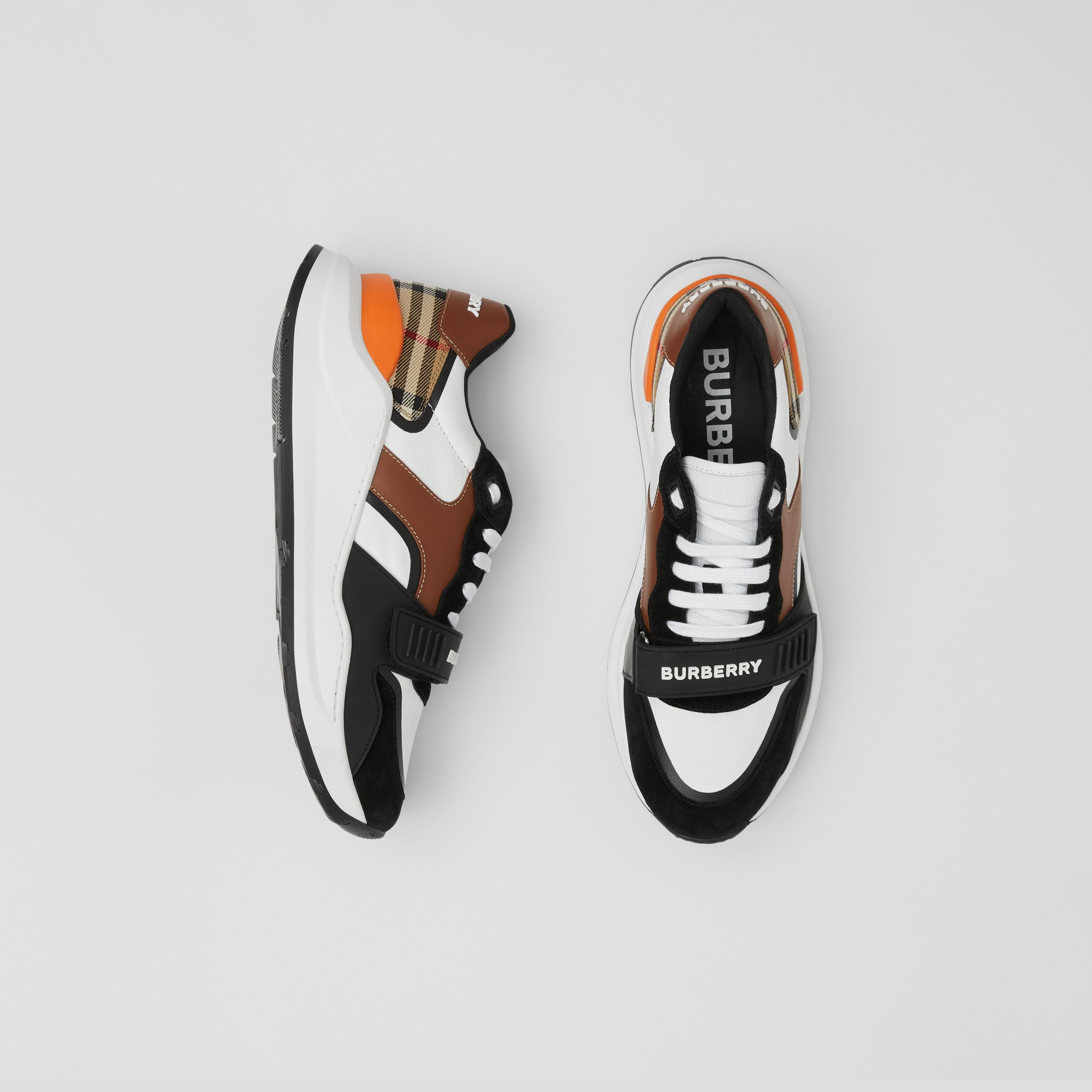 Leather, Suede and Vintage Check Sneakers in Black/archive Beige - Women | Burberry - 1