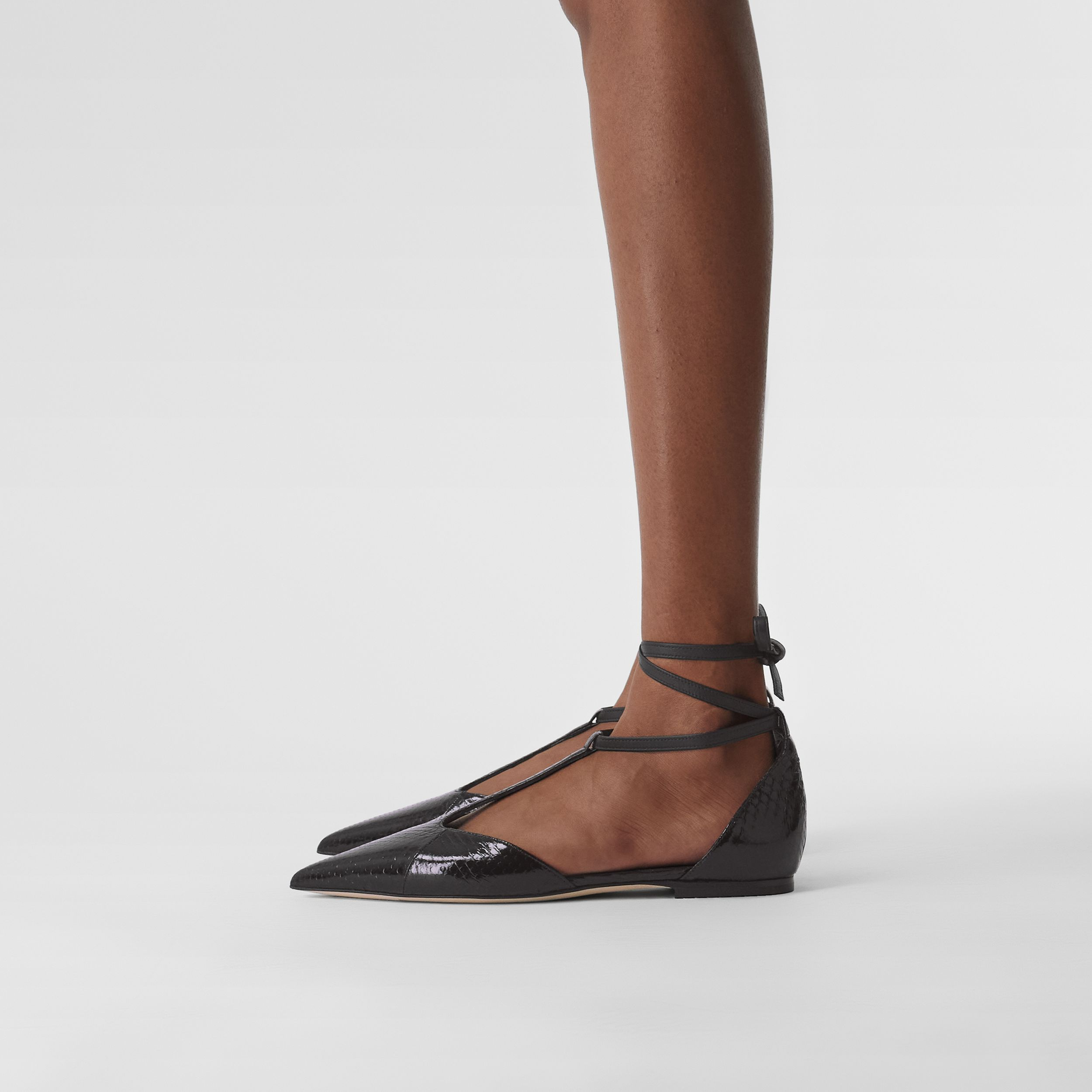 Snakeskin and Leather Point-toe Ballerinas in Black - Women | Burberry - 3