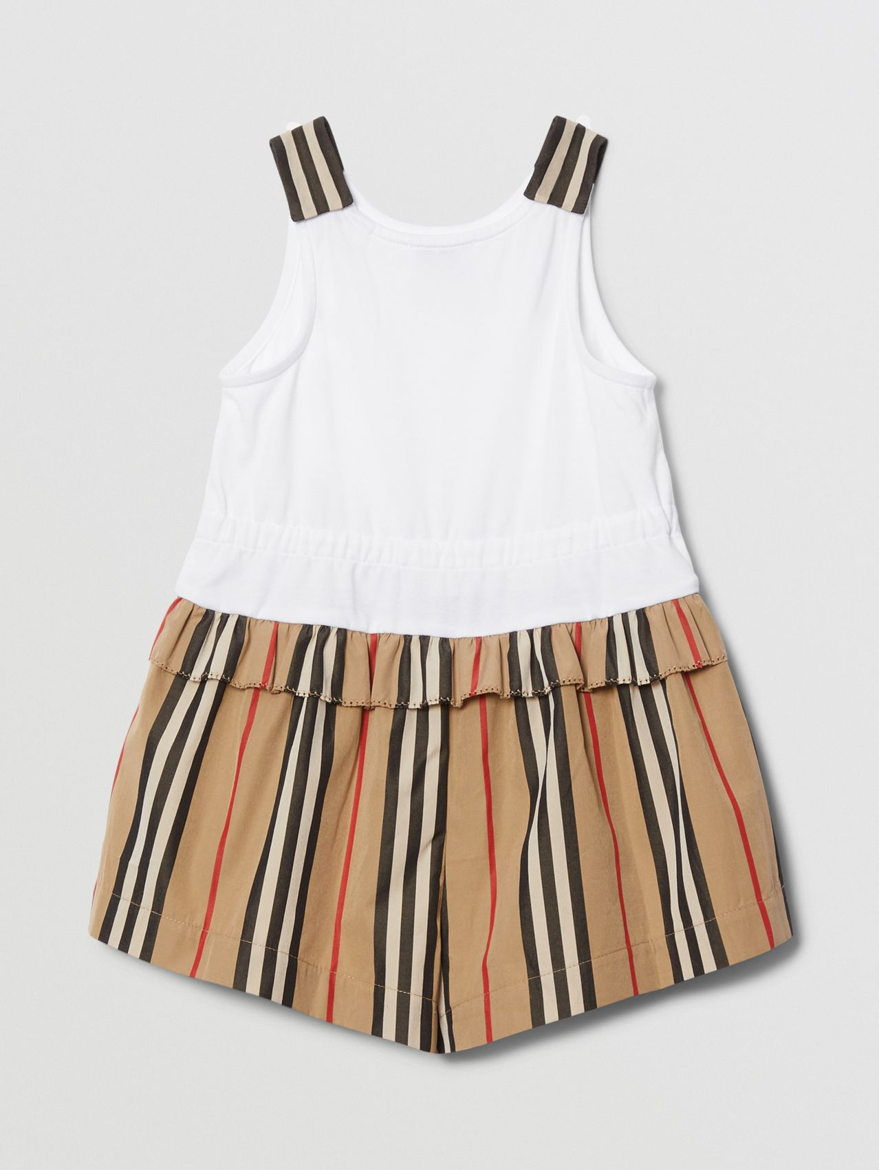 Monogram Motif Icon Stripe Detail Cotton Playsuit in Archive Beige