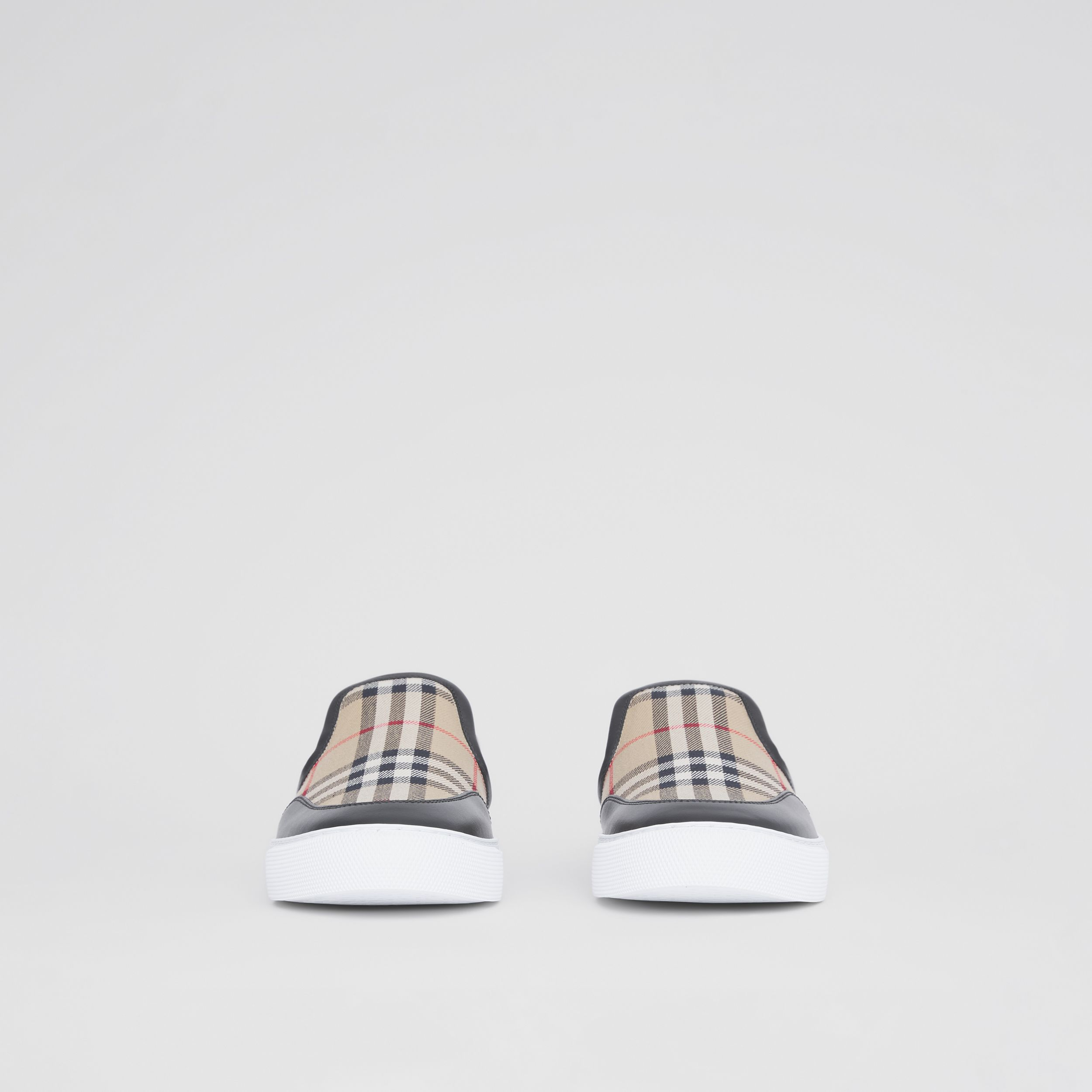 Leather and Vintage Check Slip-on Sneakers in Black - Women | Burberry - 4