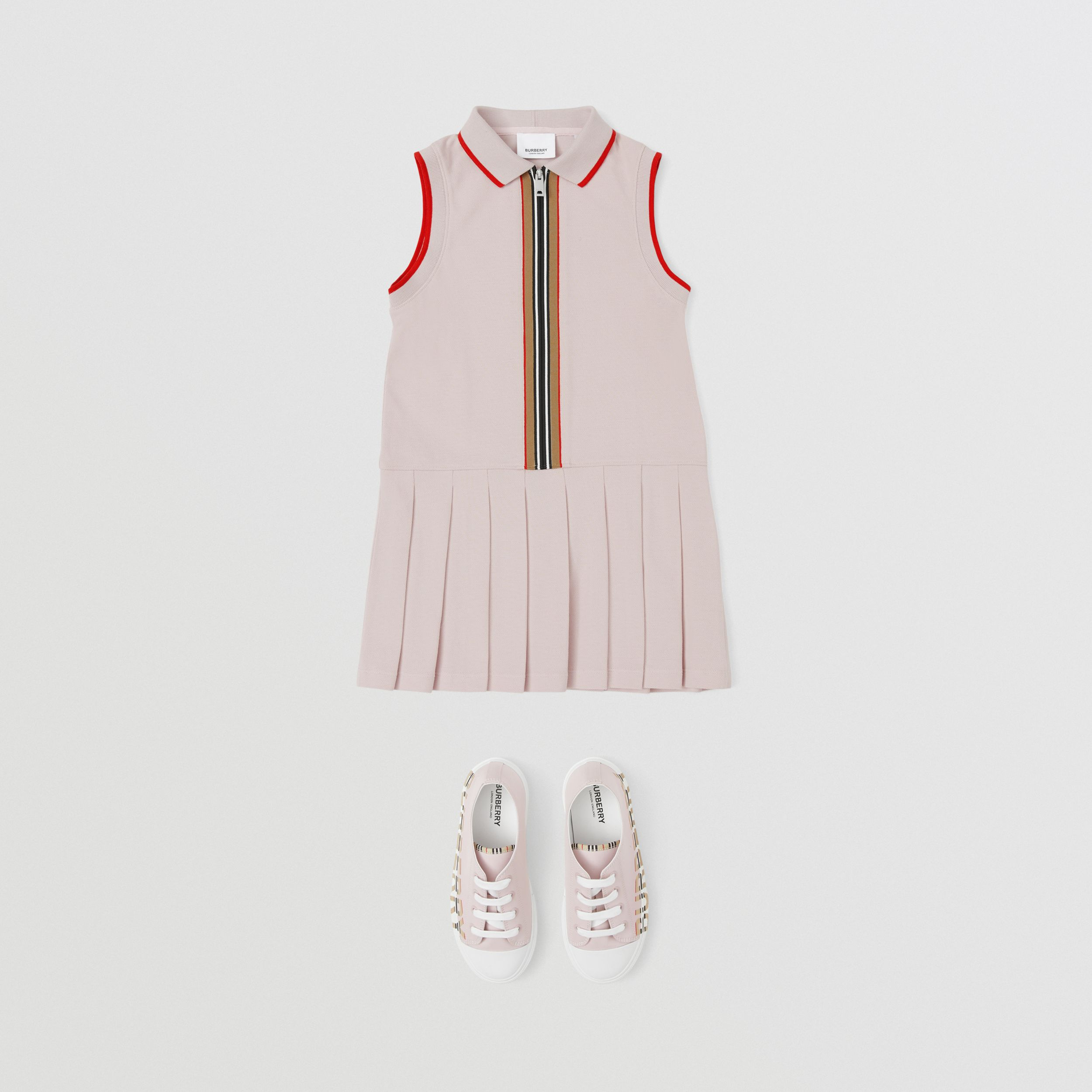 Icon Stripe Detail Cotton Sleeveless Polo Shirt Dress in Pastel Pink | Burberry - 3