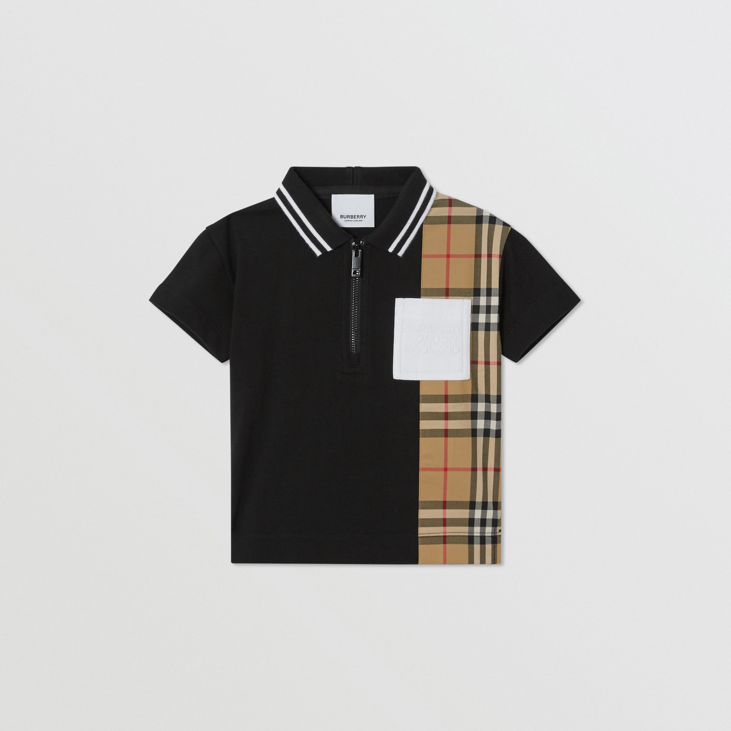 Vintage Check Panel Cotton Zip-front Polo Shirt in Black - Children | Burberry - 1